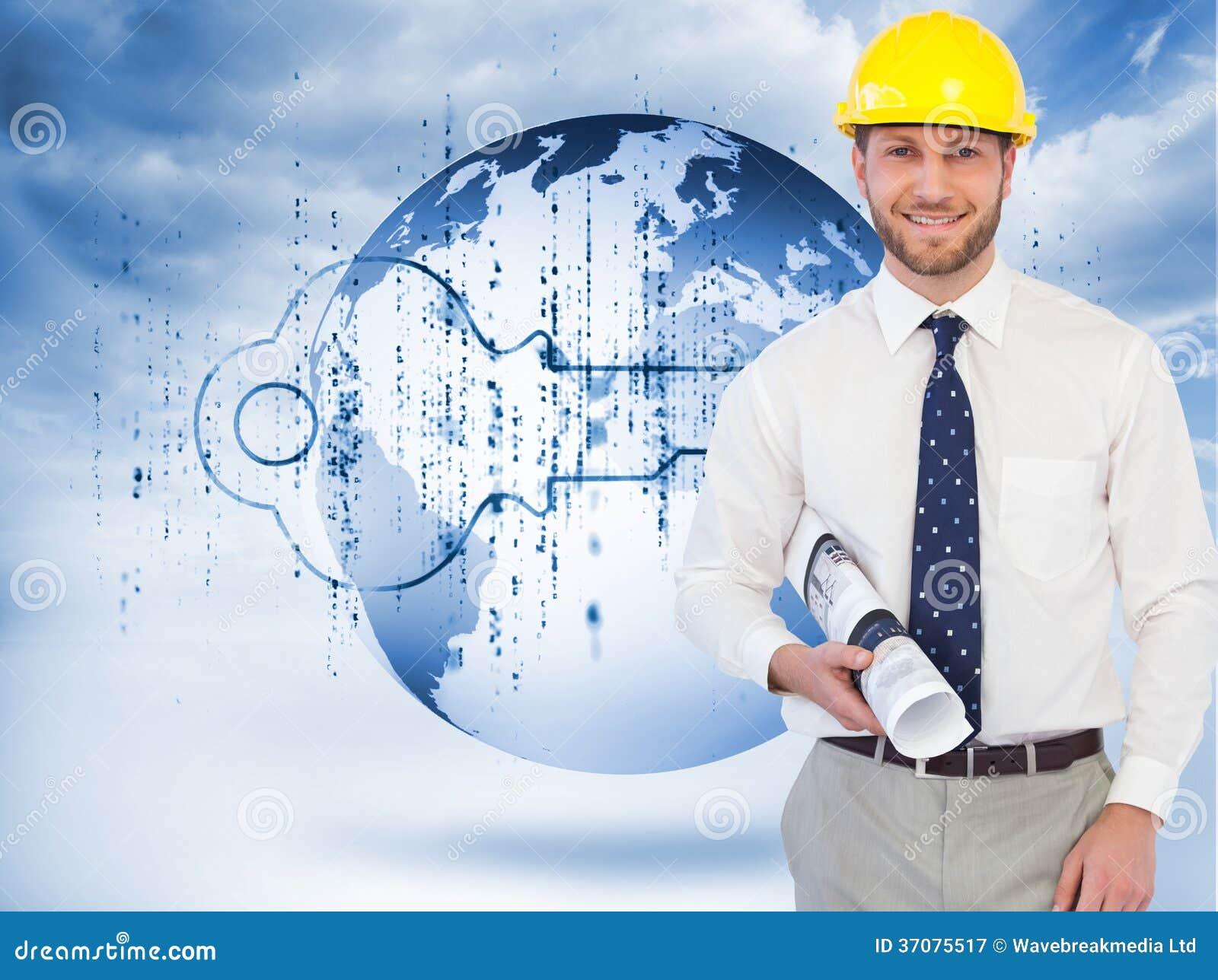 Download Rozochocony Młody Architekta Pozować Obraz Stock - Obraz złożonej z mężczyzna, błękitny: 37075517