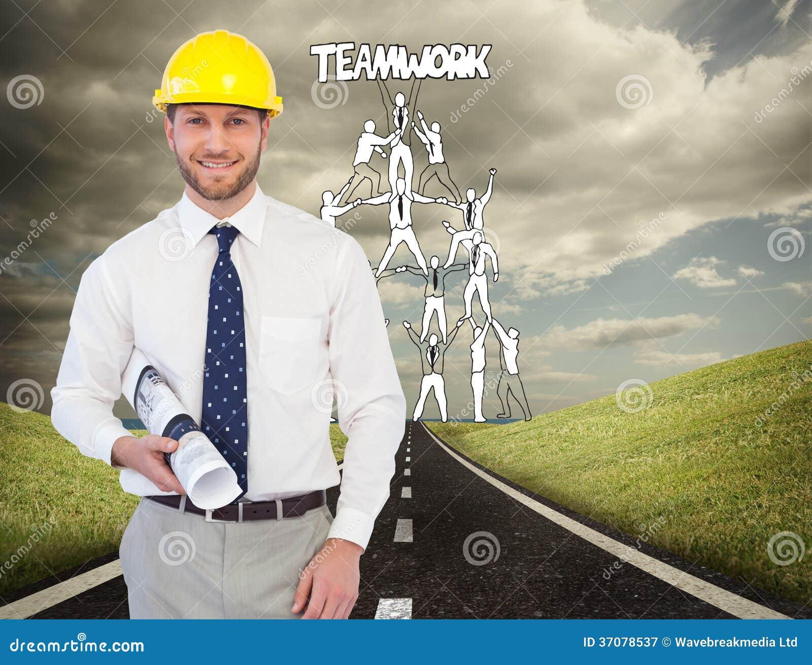 Download Rozochocony Młody Architekta Pozować Obraz Stock - Obraz złożonej z asfalt, przyszłość: 37078537