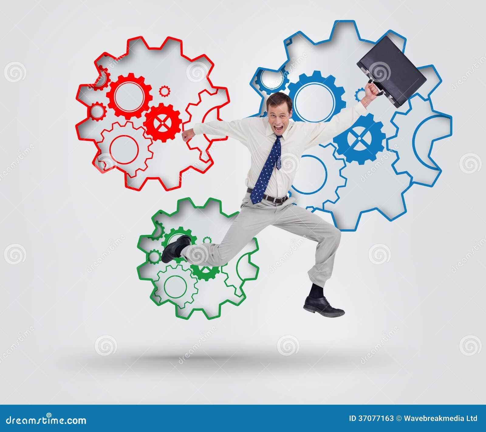 Download Rozochocony Skokowy Biznesmen Z Jego Walizką Obraz Stock - Obraz złożonej z kopia, classy: 37077163