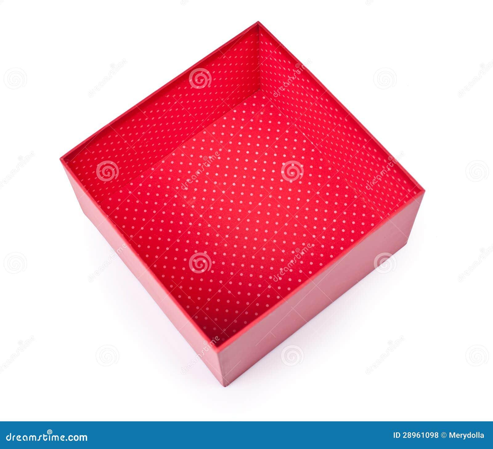 Rozpieczętowany pusty czerwony prezenta pudełko