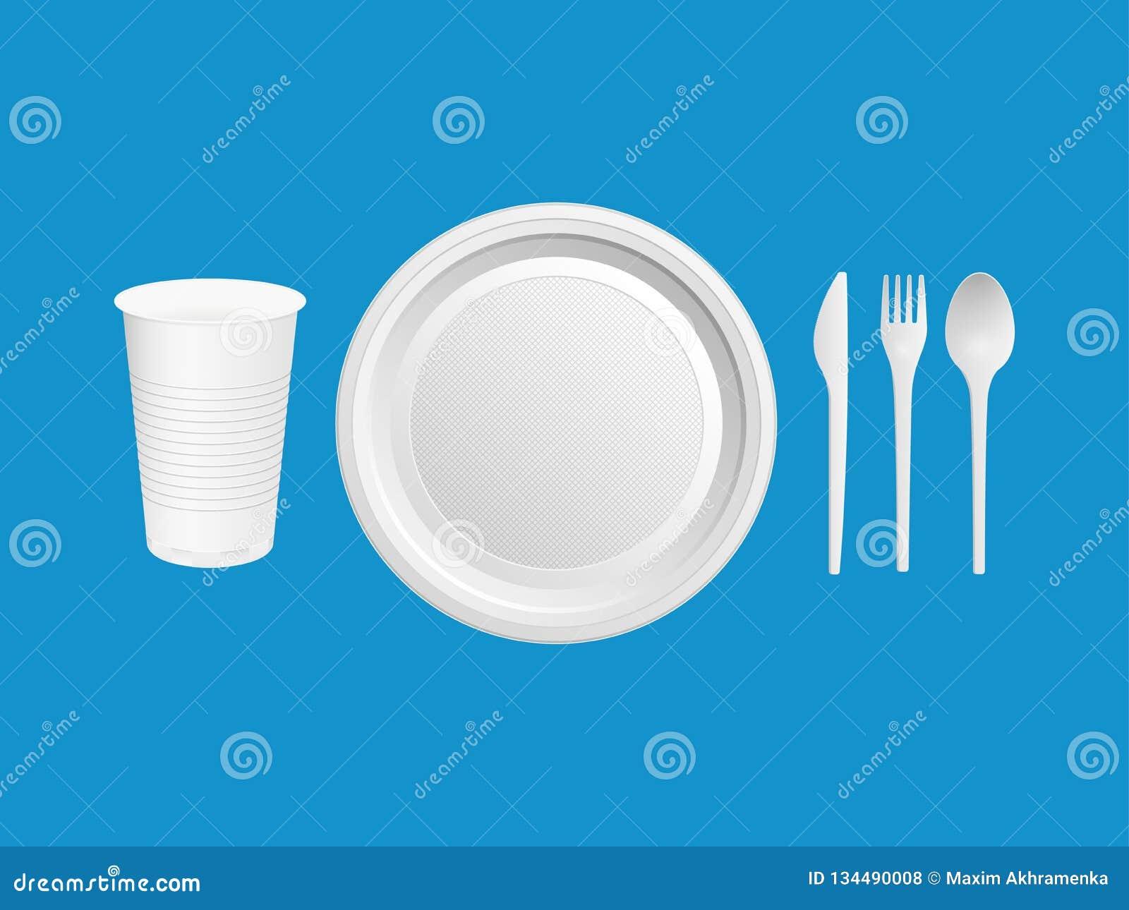 Rozporządzalni klingerytów naczynia Szkło, nóż, rozwidlenie, łyżka na błękitnym tle również zwrócić corel ilustracji wektora