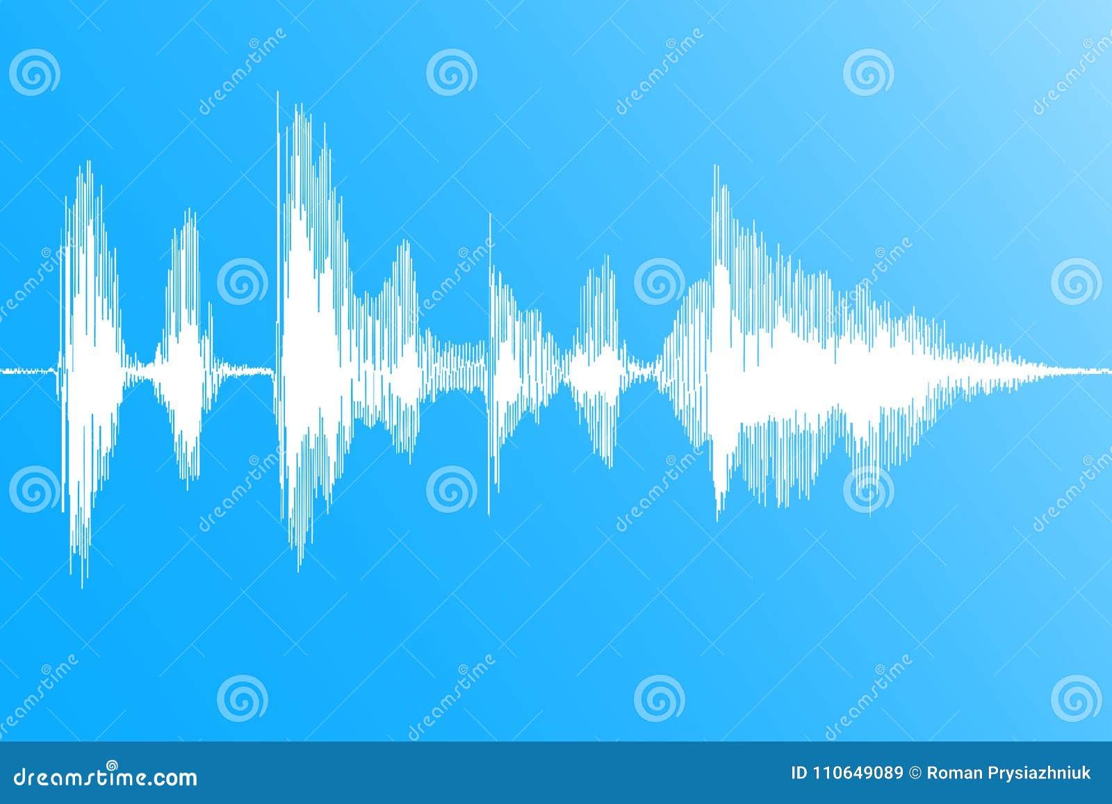 Rozsądna fala Realistyczny dynamiczny soundwave, muzyczny cyfrowy przepływ na błękitnym tle wektor