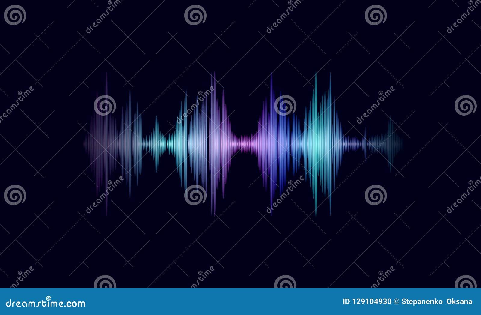 Rozsądna oscyluje falowa kolorowa rozjarzona muzyka Rozpoznanie głosu technologii pomocniczy waveform Audio wyrównywacz cyfrowy