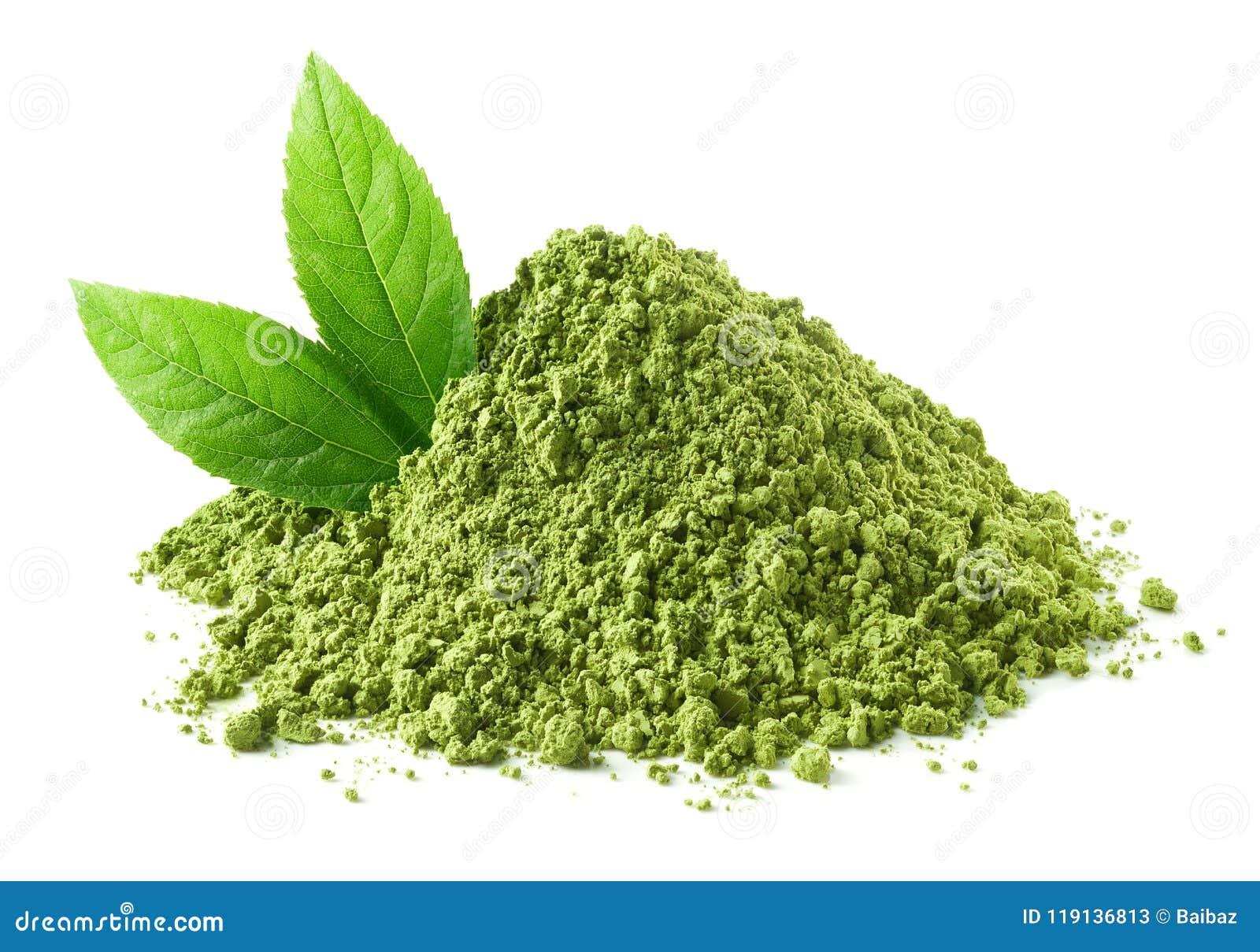 Rozsypisko zielony matcha herbaty proszek i liście