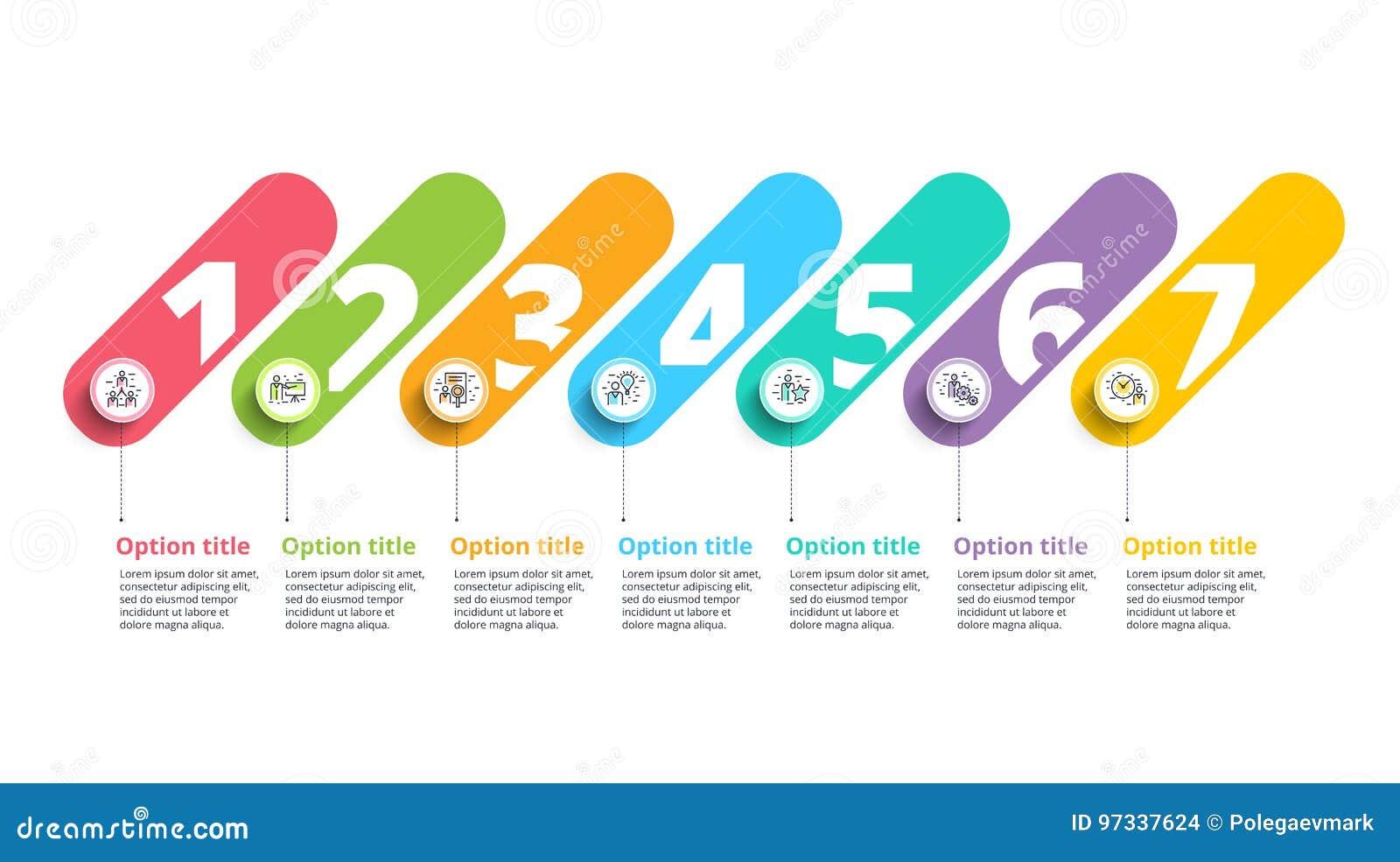 Rozwój biznesu mapy infographics z 7 kroków okręgami Circula