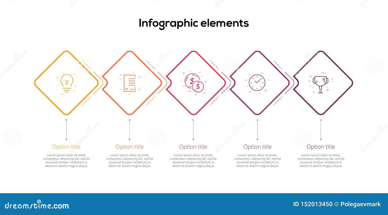 Rozwój biznesu mapy infographics z 5 kroków ukośnikami Kwadratowi korporacyjni obieg grafiki elementy Firmy flowchart prezentacja
