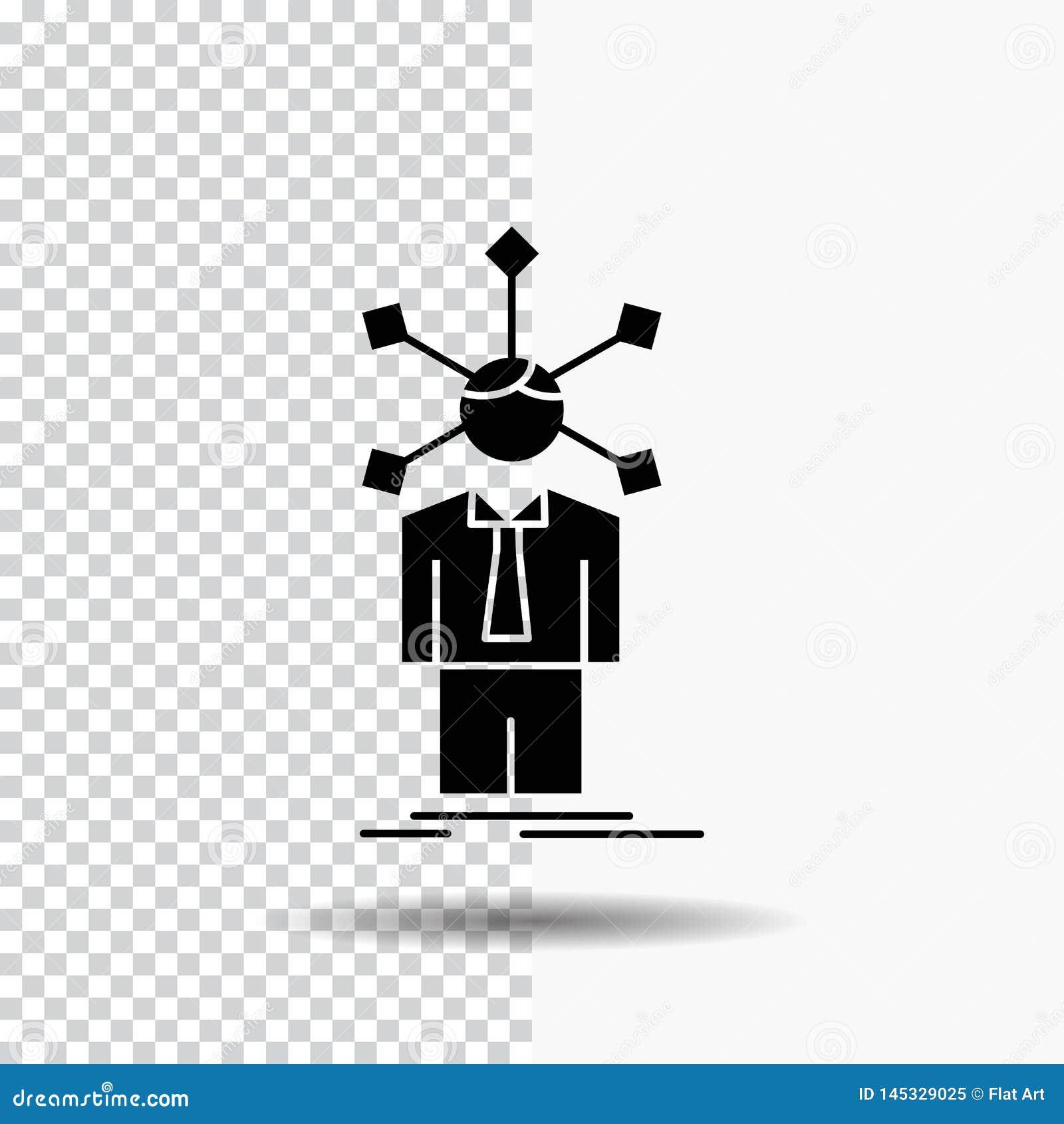 Rozwój, istota ludzka, sieć, osobowość, jaźń glifu ikona na Przejrzystym tle Czarna ikona