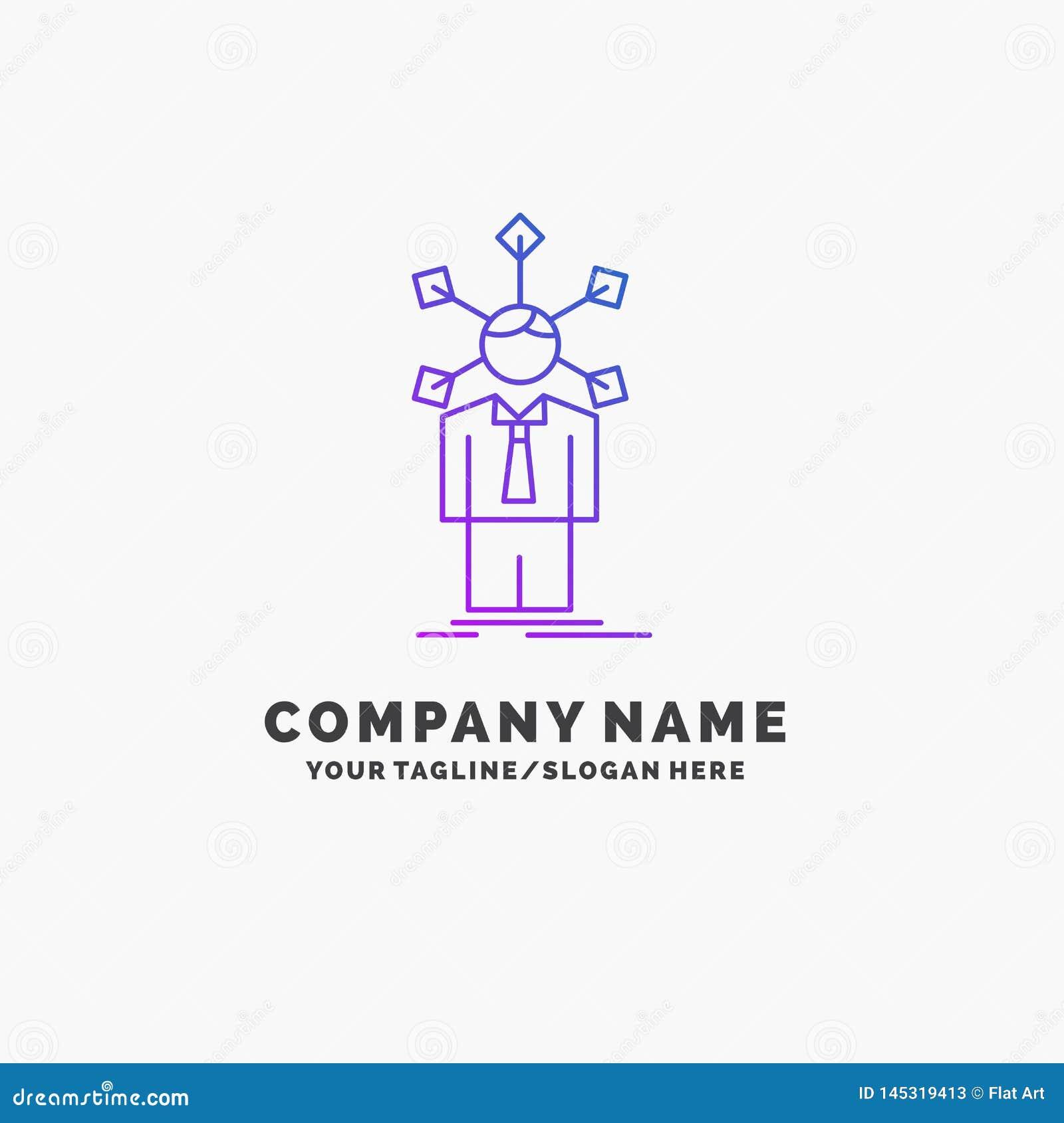 Rozwój, istota ludzka, sieć, osobowość, jaźń logo Purpurowy Biznesowy szablon Miejsce dla Tagline