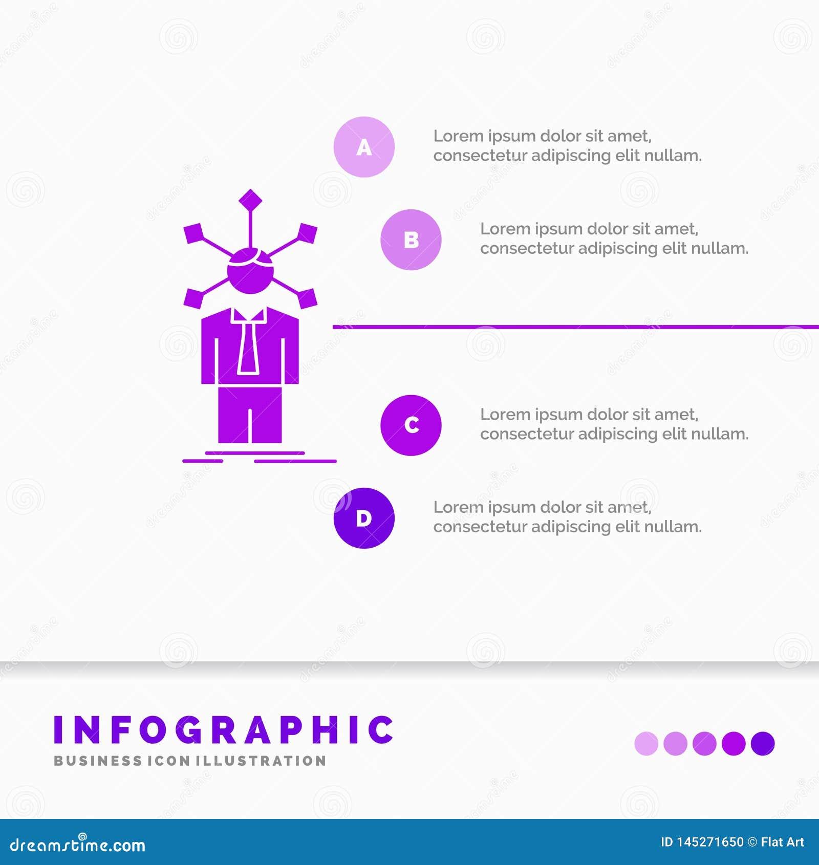 Rozwój, istota ludzka, sieć, osobowość, jaźni Infographics szablon dla strony internetowej i prezentacja, glif Purpurowa ikona in