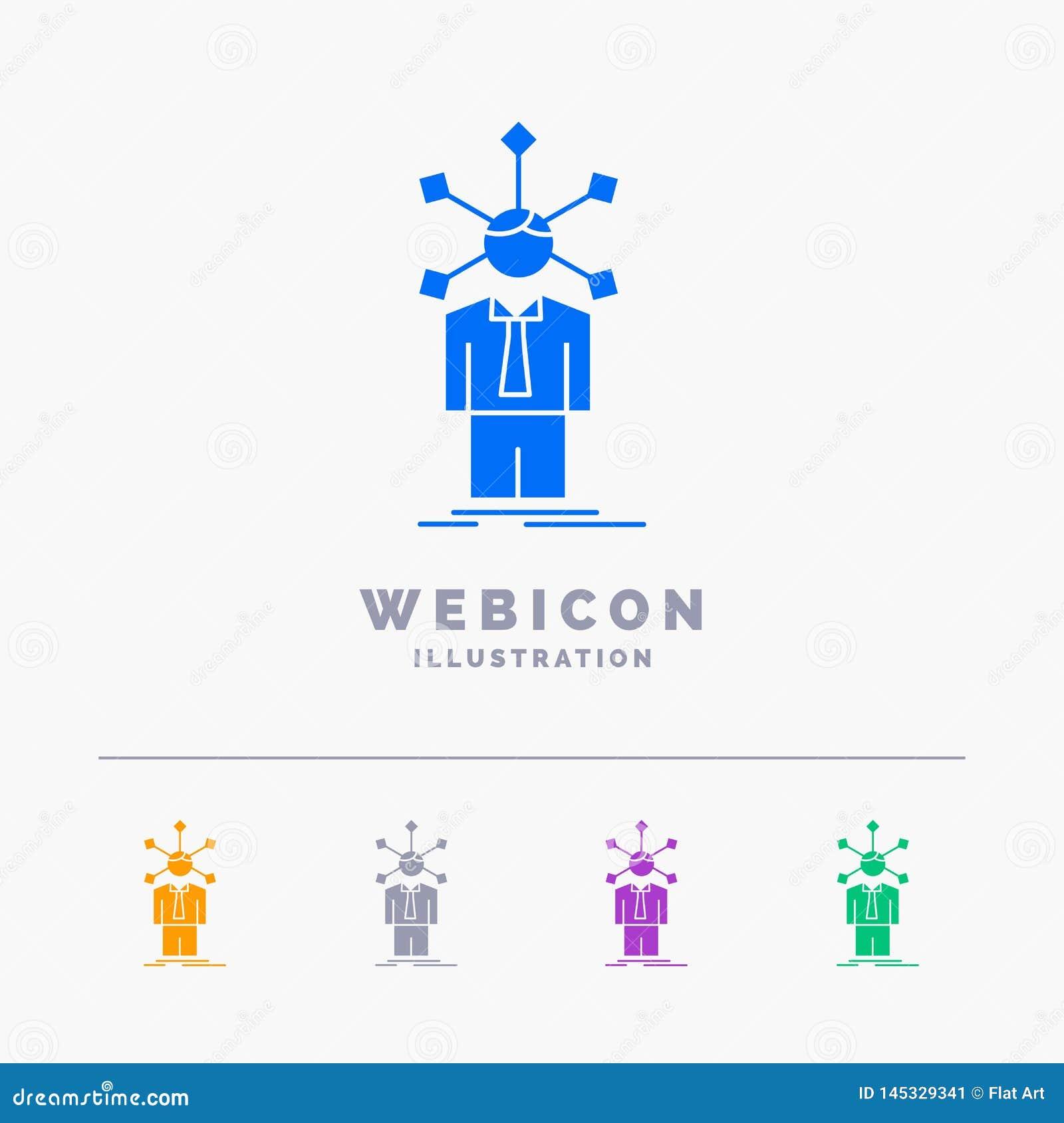 Rozwój, istota ludzka, sieć, osobowość, jaźni 5 koloru glifu sieci ikony szablon odizolowywający na bielu r?wnie? zwr?ci? corel i