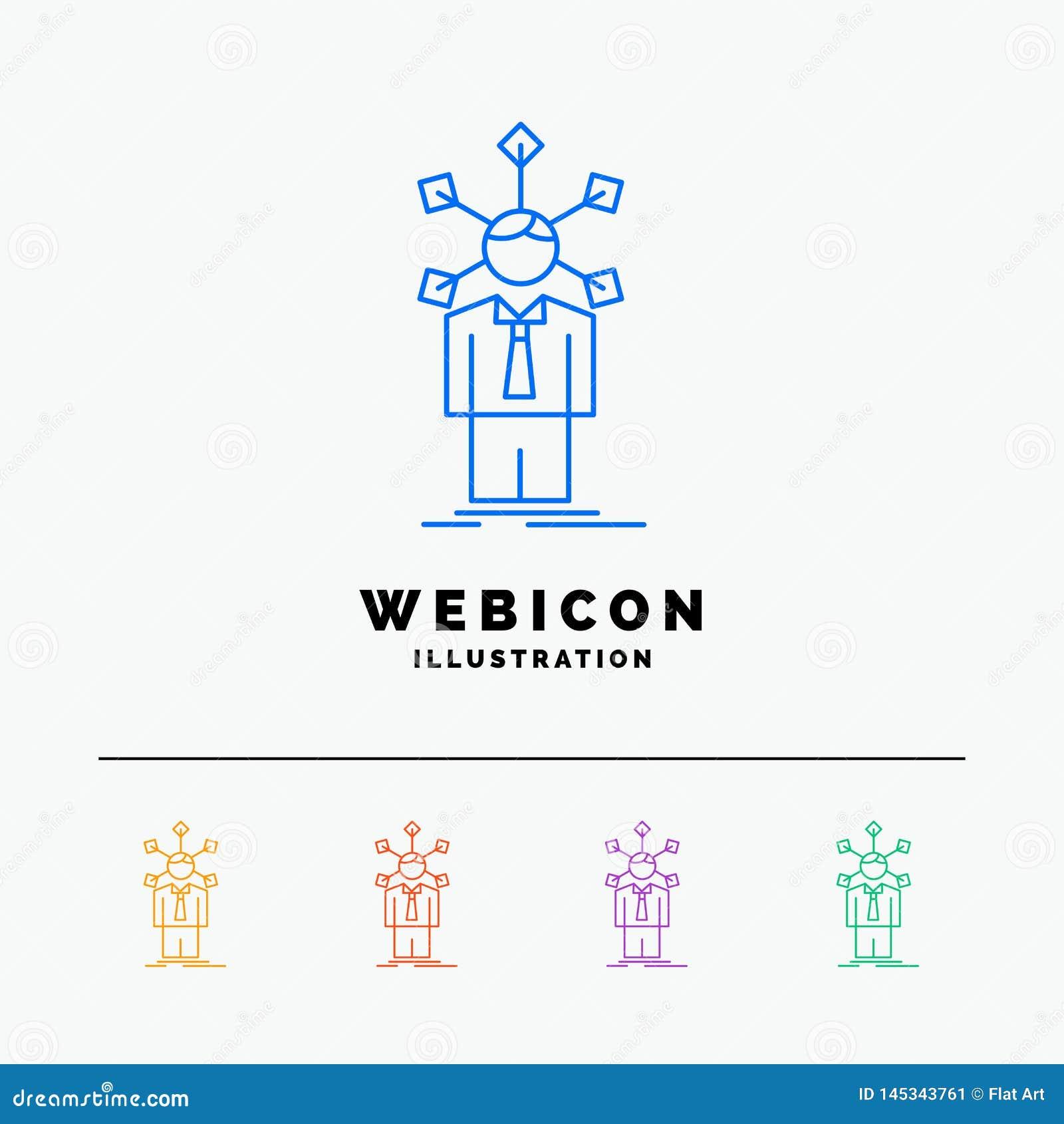 Rozwój, istota ludzka, sieć, osobowość, jaźni 5 koloru linii sieci ikony szablon odizolowywający na bielu r?wnie? zwr?ci? corel i