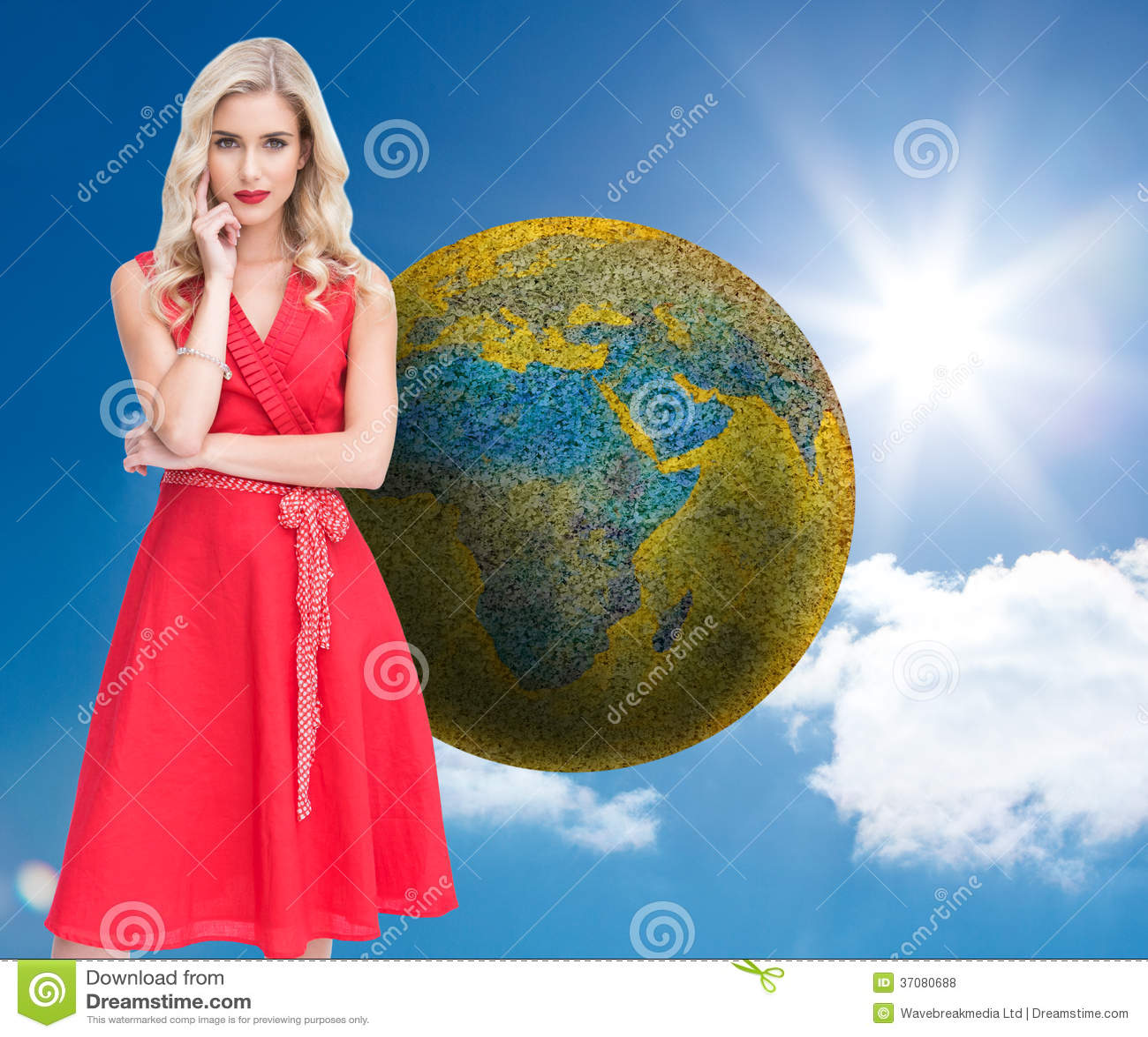 Download Rozważna Blondynka Jest Ubranym Czerwieni Suknię Ilustracji - Ilustracja złożonej z niebo, chmurny: 37080688