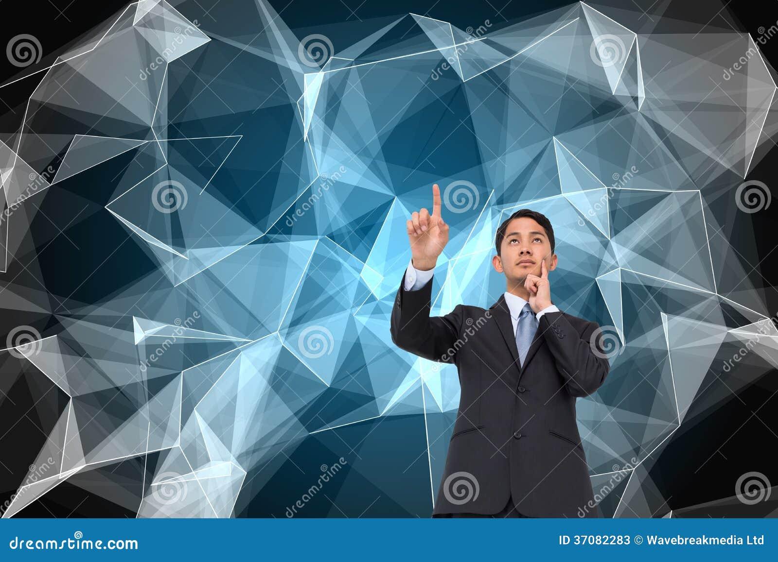 Download Rozważny Azjatykci Biznesmena Wskazywać Obraz Stock - Obraz złożonej z digitise, osoba: 37082283