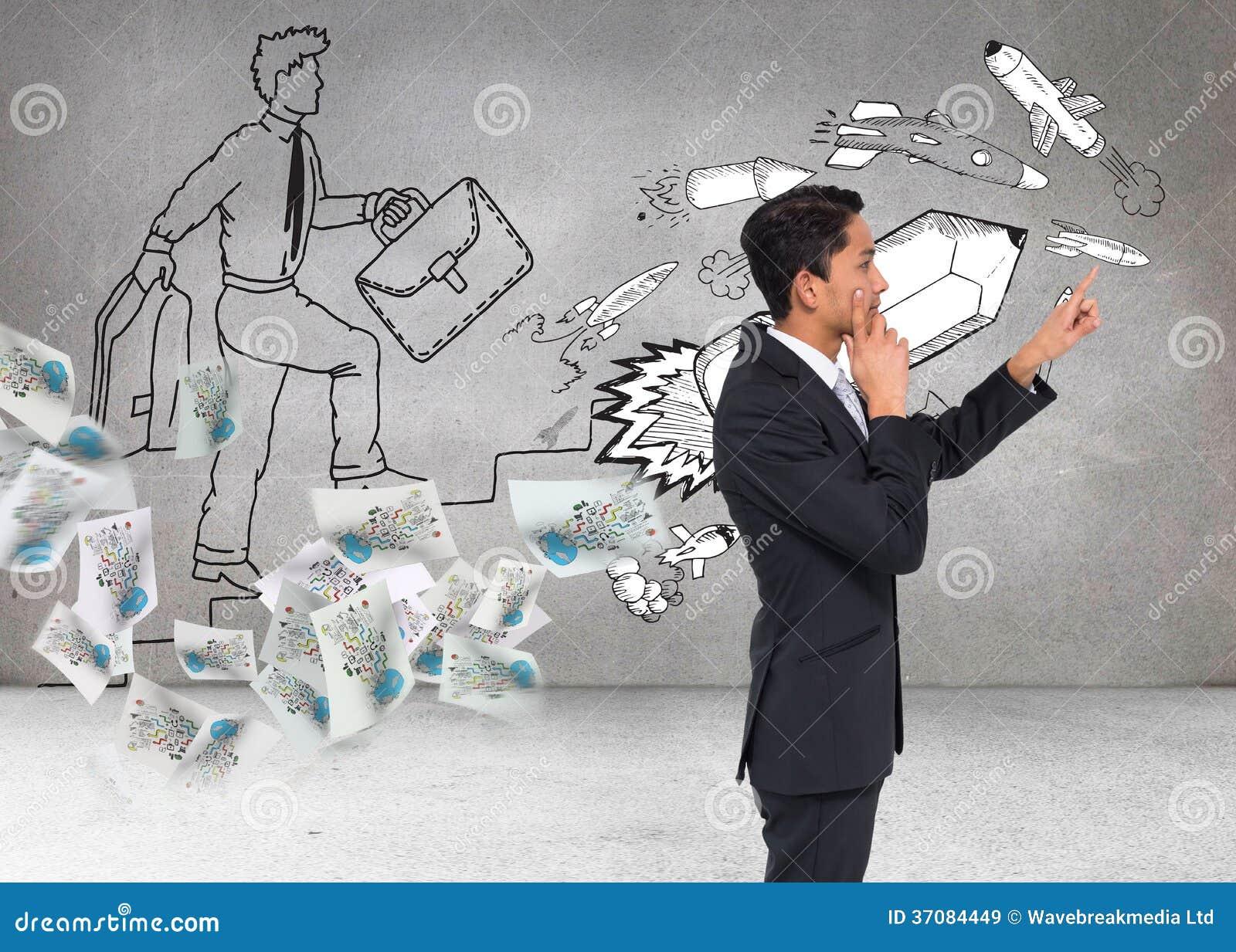 Download Rozważny Azjatykci Biznesmena Wskazywać Obraz Stock - Obraz złożonej z brąz, charcica: 37084449