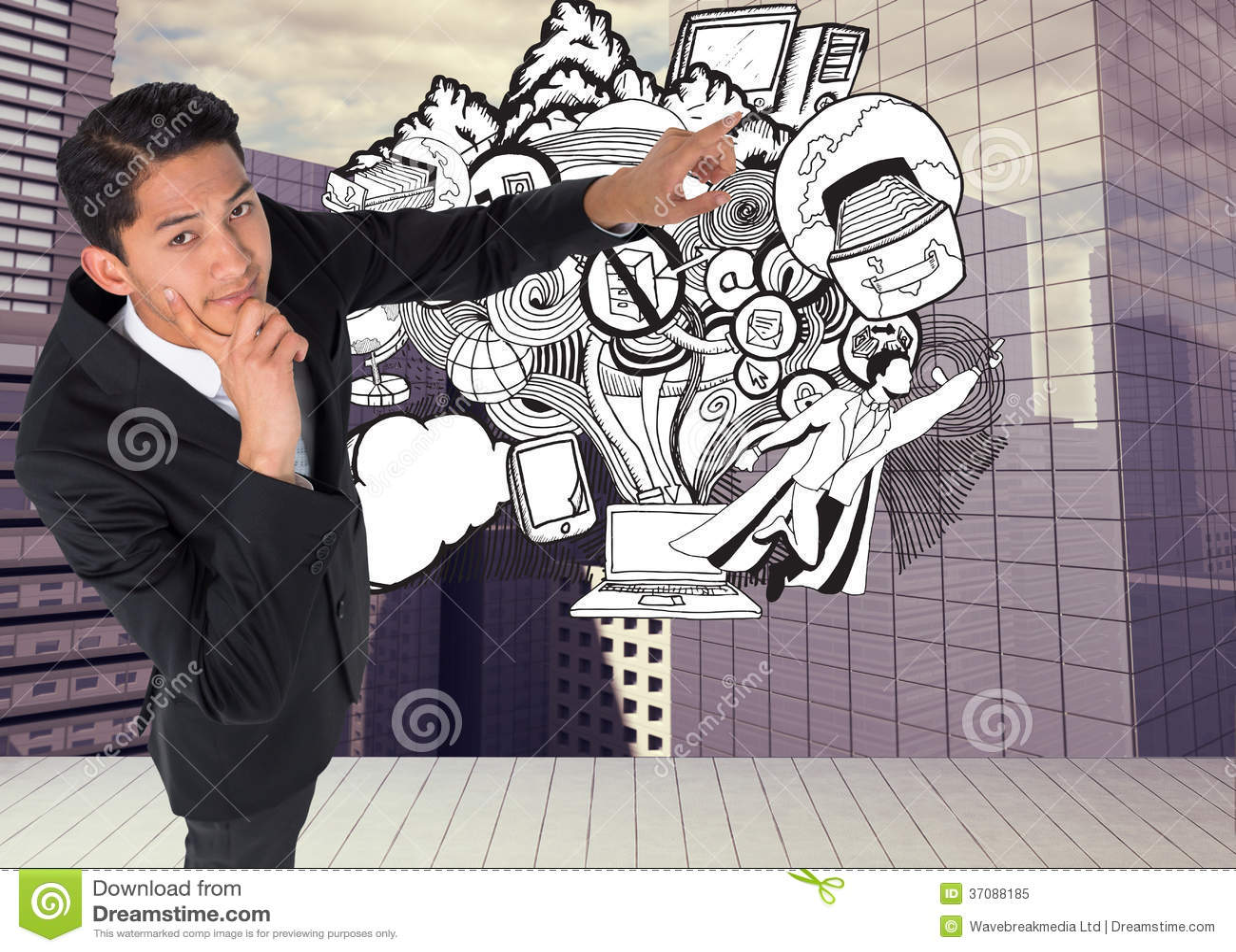 Download Rozważny Azjatykci Biznesmena Wskazywać Obraz Stock - Obraz złożonej z potomstwa, kostium: 37088185