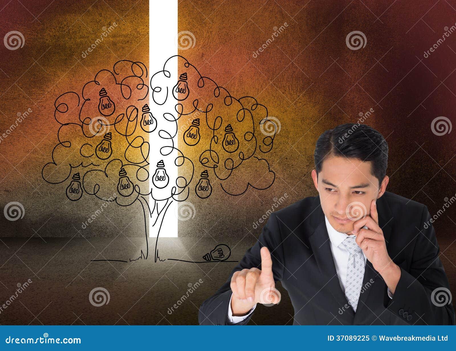 Download Rozważny Azjatykci Biznesmena Wskazywać Obraz Stock - Obraz złożonej z doodle, pokój: 37089225