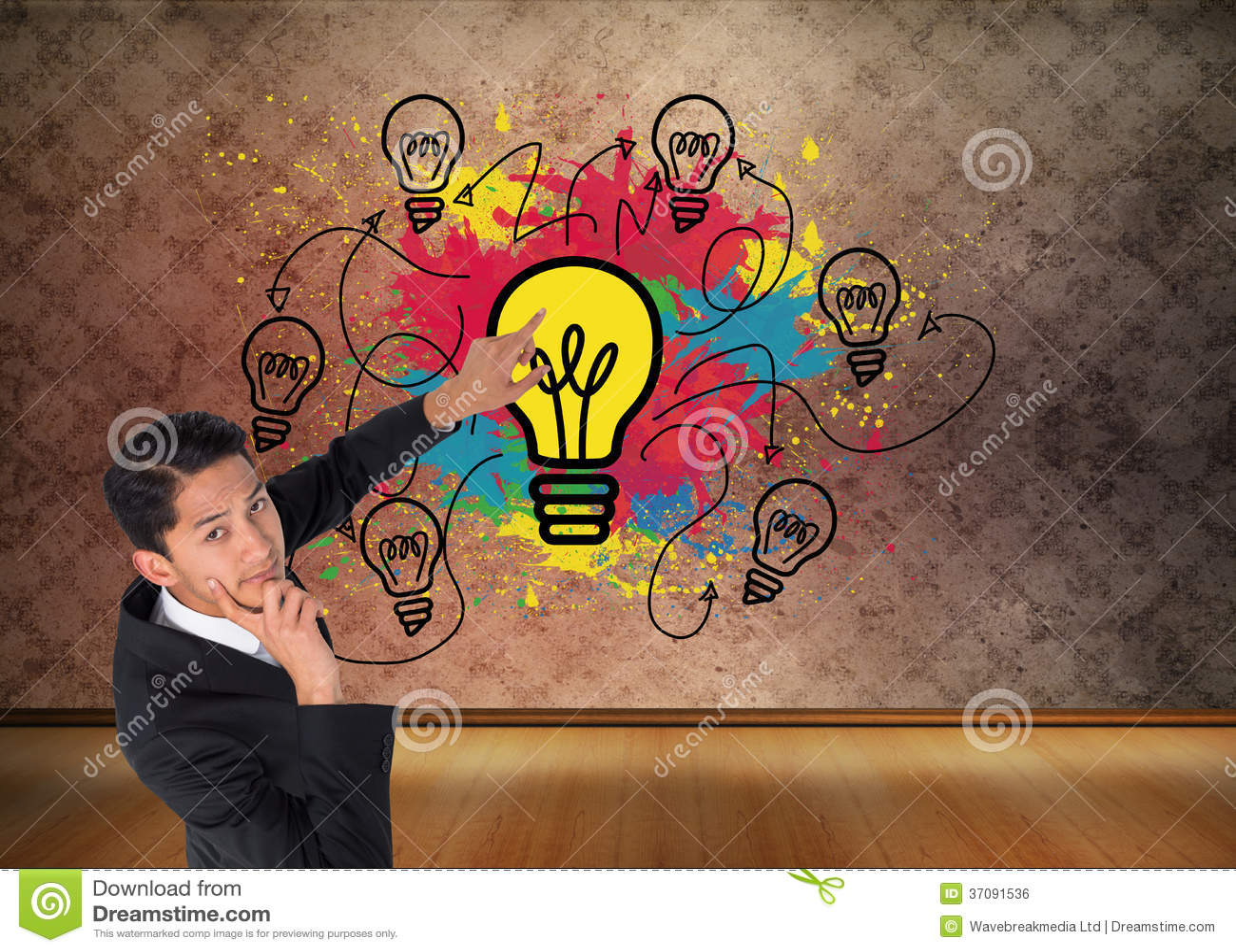 Download Rozważny Azjatykci Biznesmena Wskazywać Zdjęcie Stock - Obraz złożonej z wallah, grafika: 37091536