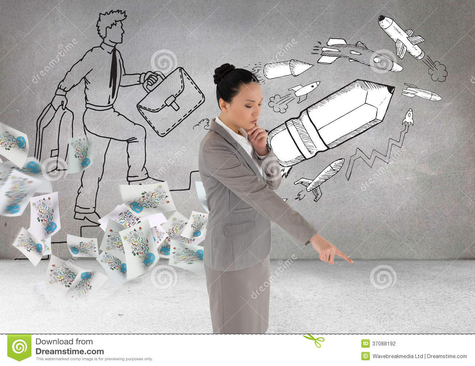 Download Rozważny Azjatykci Bizneswomanu Wskazywać Zdjęcie Stock - Obraz złożonej z azjata, jeden: 37088192