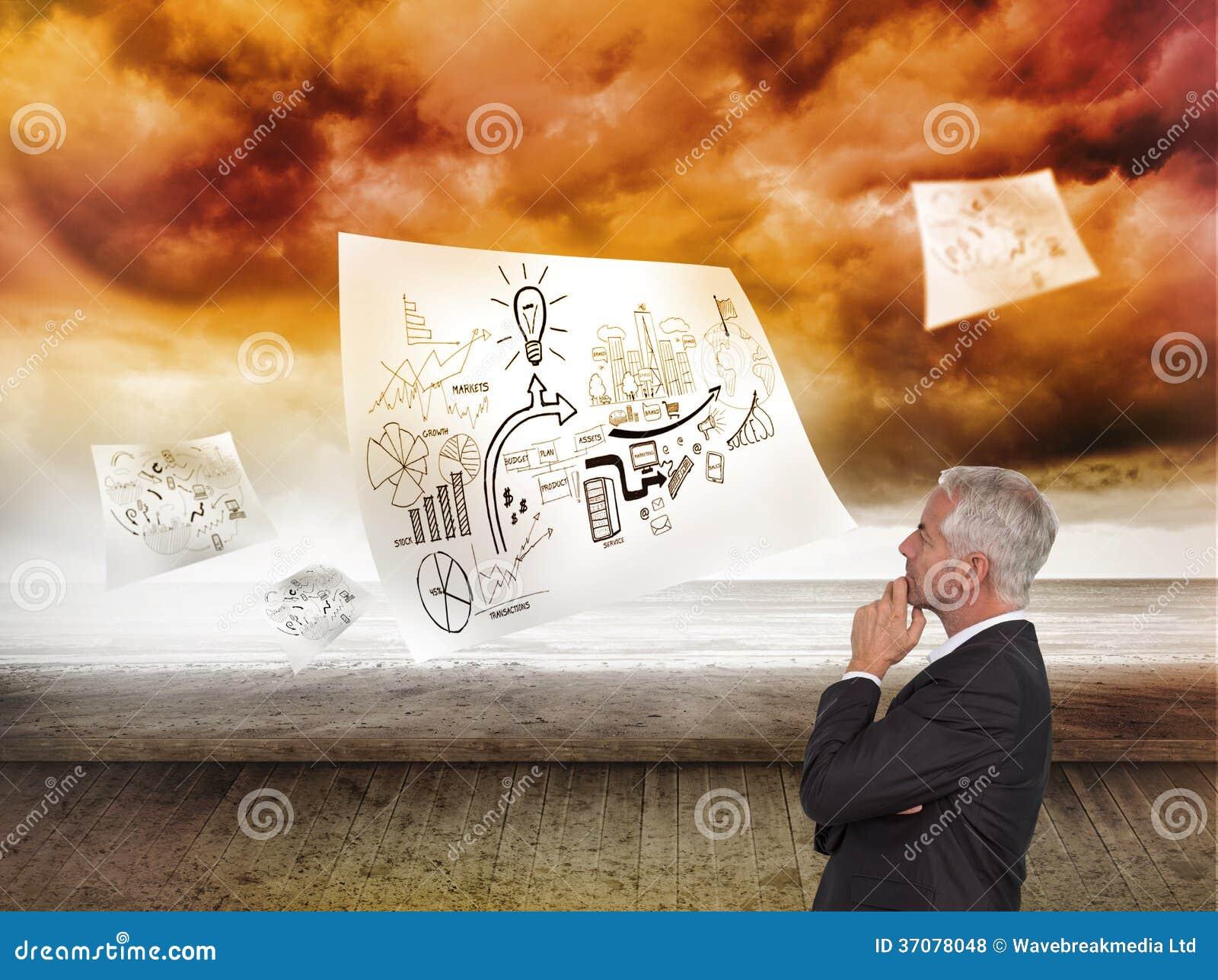 Download Rozważny Dojrzały Biznesmena Pozować Zdjęcie Stock - Obraz złożonej z grafika, dojrzały: 37078048
