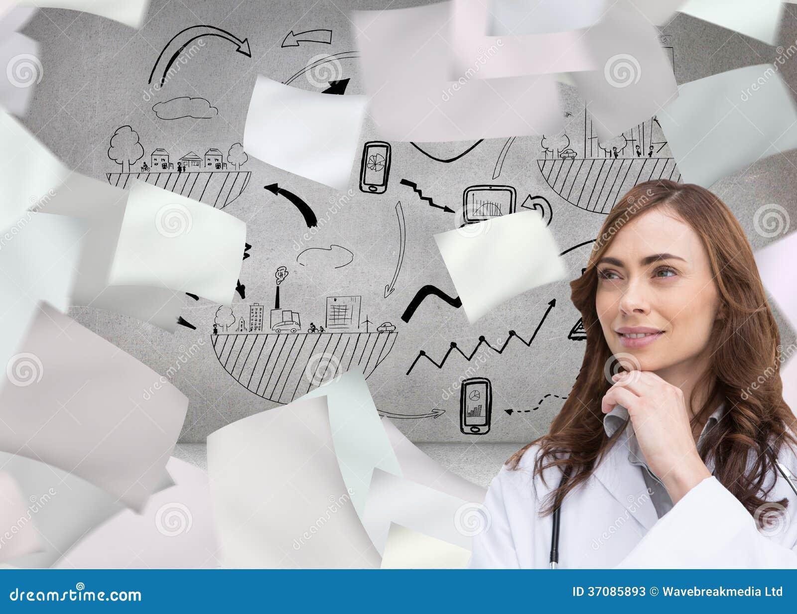 Download Rozważny Doktorski Patrzeć Daleko Od Ilustracji - Ilustracja złożonej z kobiety, papier: 37085893