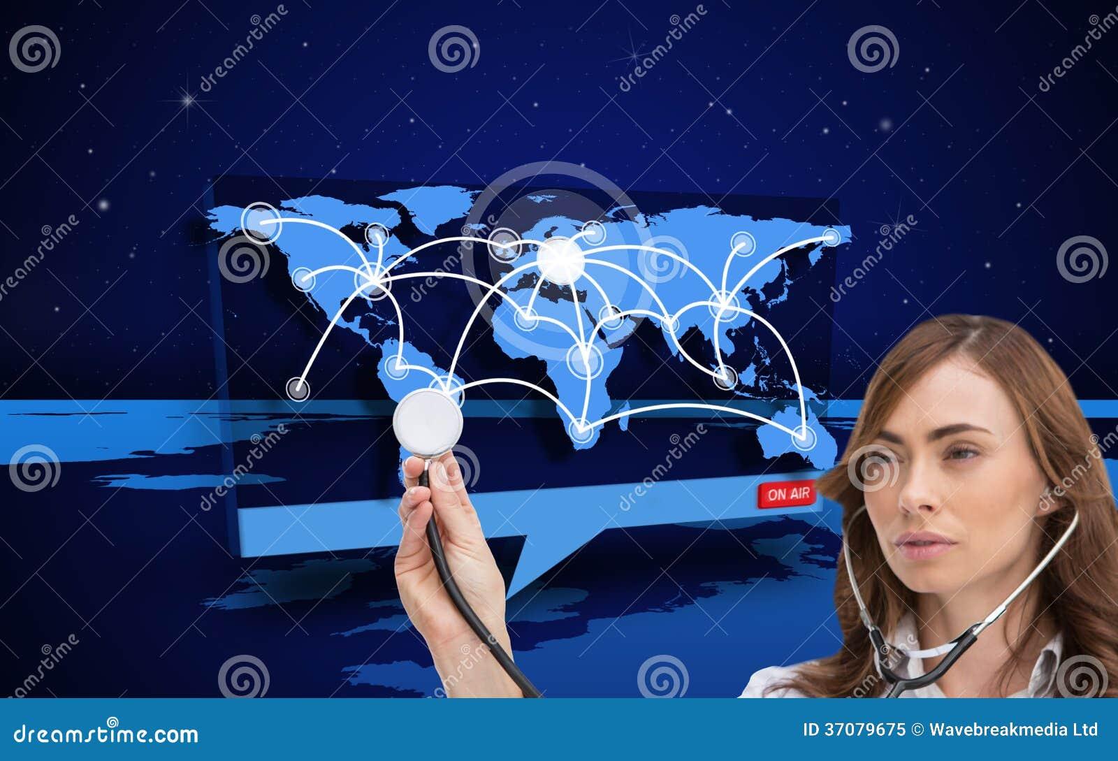 Download Rozważny Doktorski Używa Stetoskop Ilustracji - Ilustracja złożonej z wytwarza, niebo: 37079675