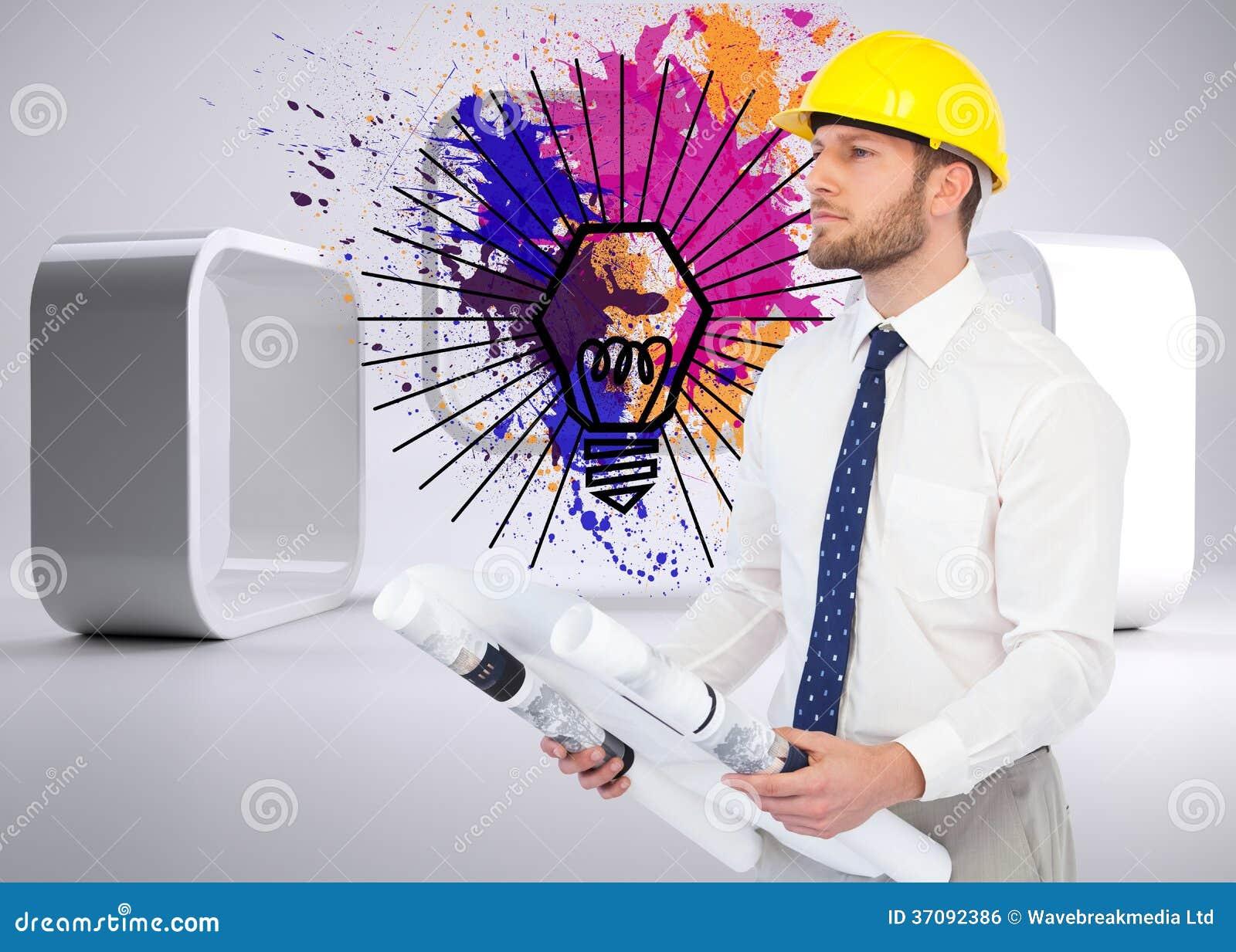Download Rozważny Młody Architekta Pozować Zdjęcie Stock - Obraz złożonej z jeden, farba: 37092386