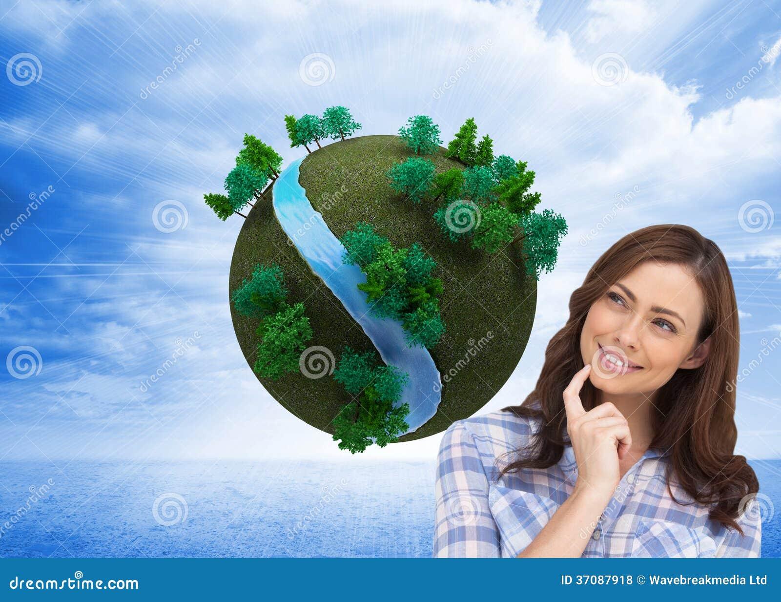 Download Rozważna Kobieta Umieszcza Jej Palec Na Jej Podbródku Zdjęcie Stock - Obraz złożonej z środowisko, strumień: 37087918