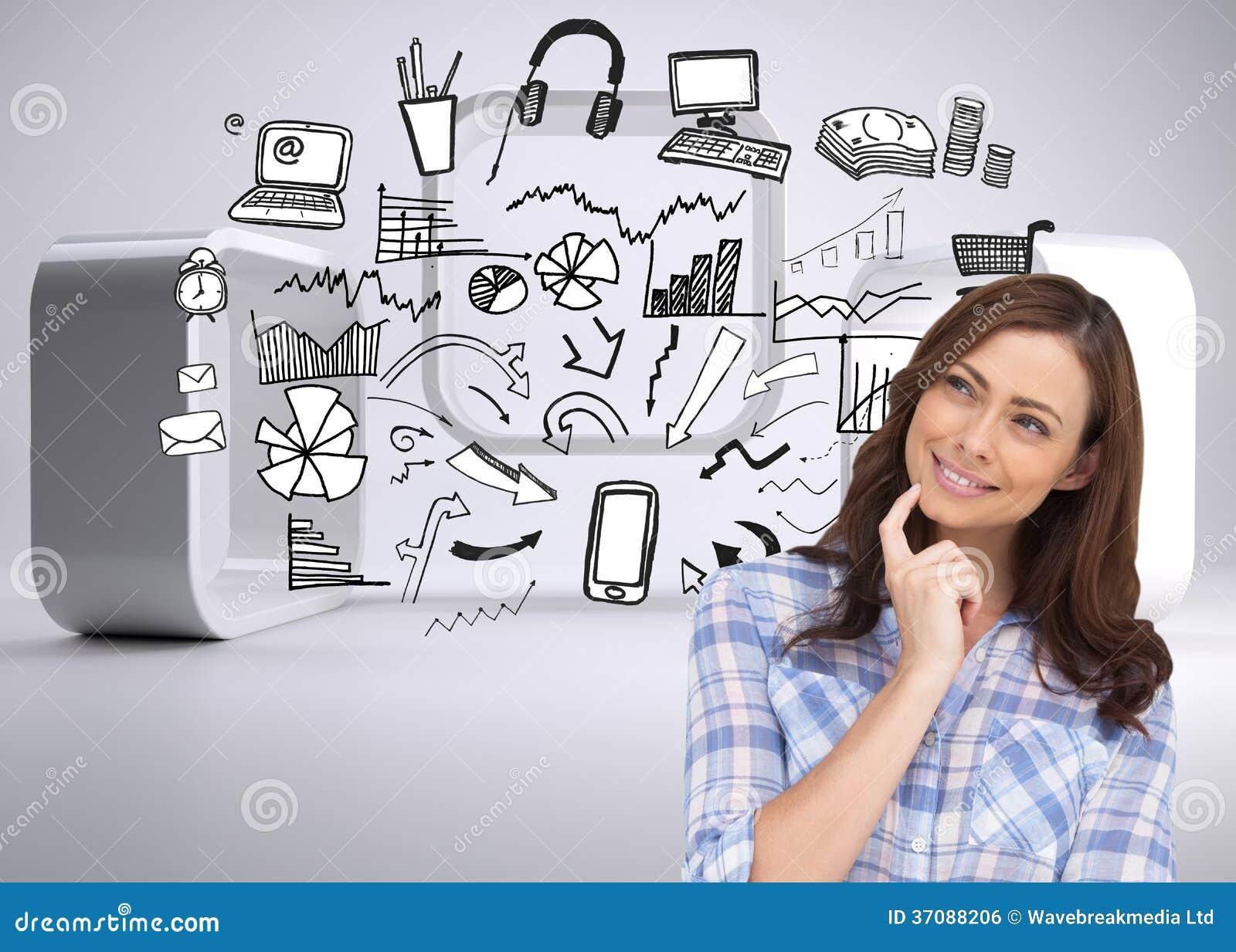 Download Rozważna Kobieta Umieszcza Jej Palec Na Jej Podbródku Zdjęcie Stock - Obraz złożonej z osoba, grafika: 37088206