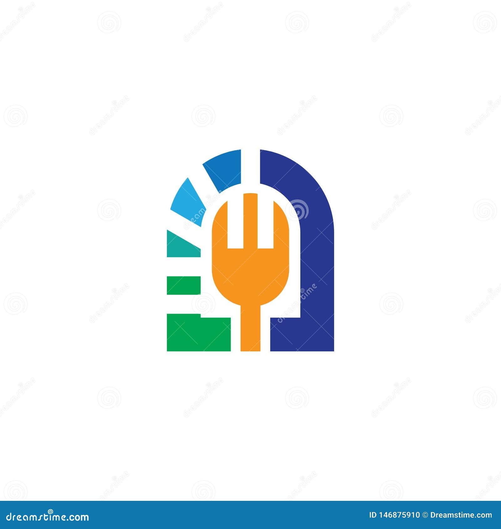 Rozwidlenie logo projekta restauracyjny wektor