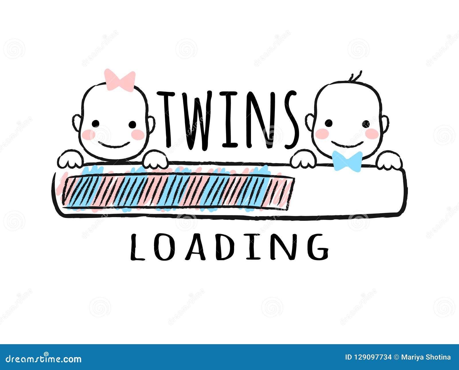 Rozwija się baru z inskrypcją bliźniaków ładować, nowonarodzona chłopiec i dziewczyna uśmiecha się twarze w szkicowym stylu -
