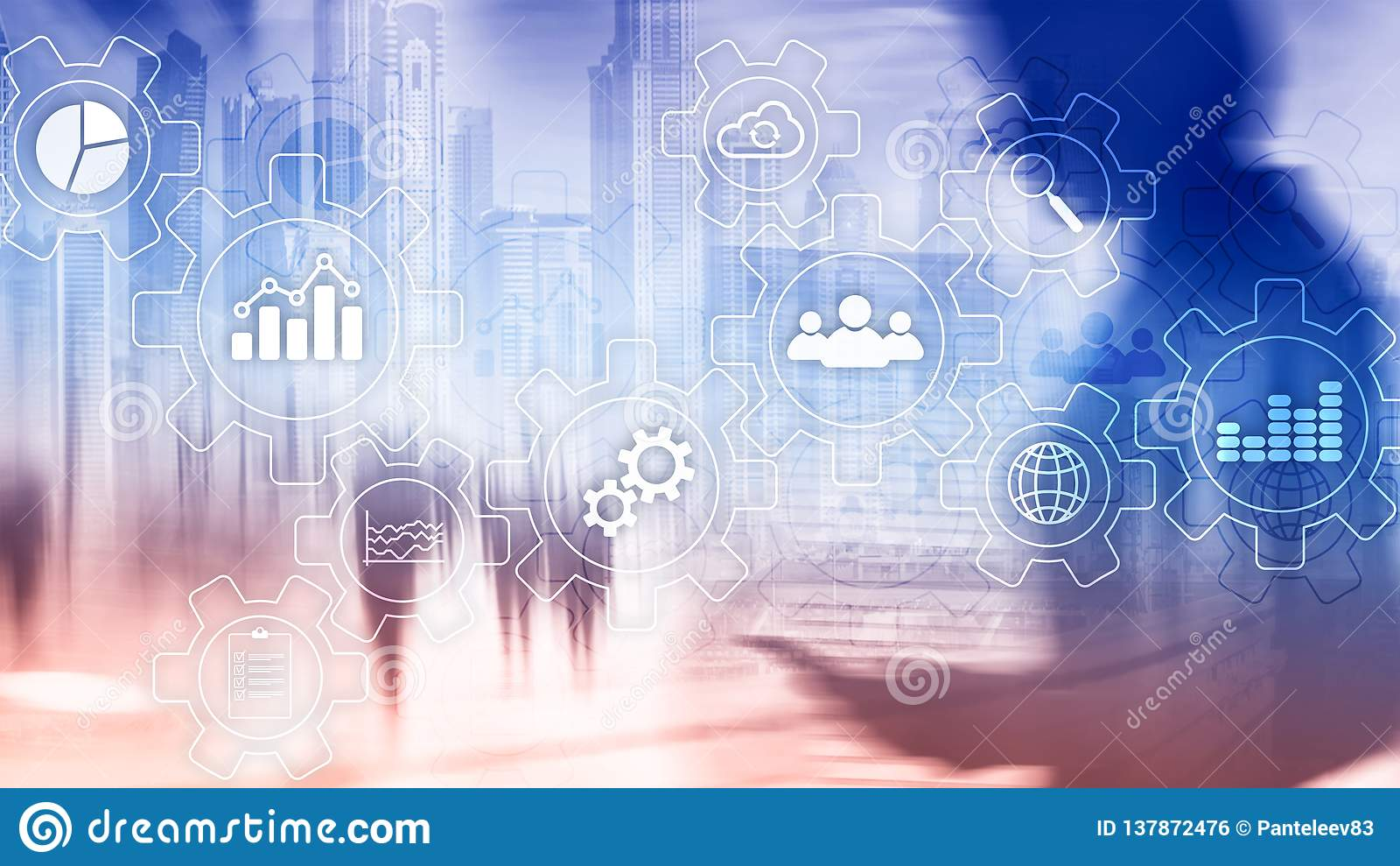 Rozwoju biznesu abstrakcjonistyczny diagram z przekładniami i ikonami Obieg i automatyzaci technologii pojęcie