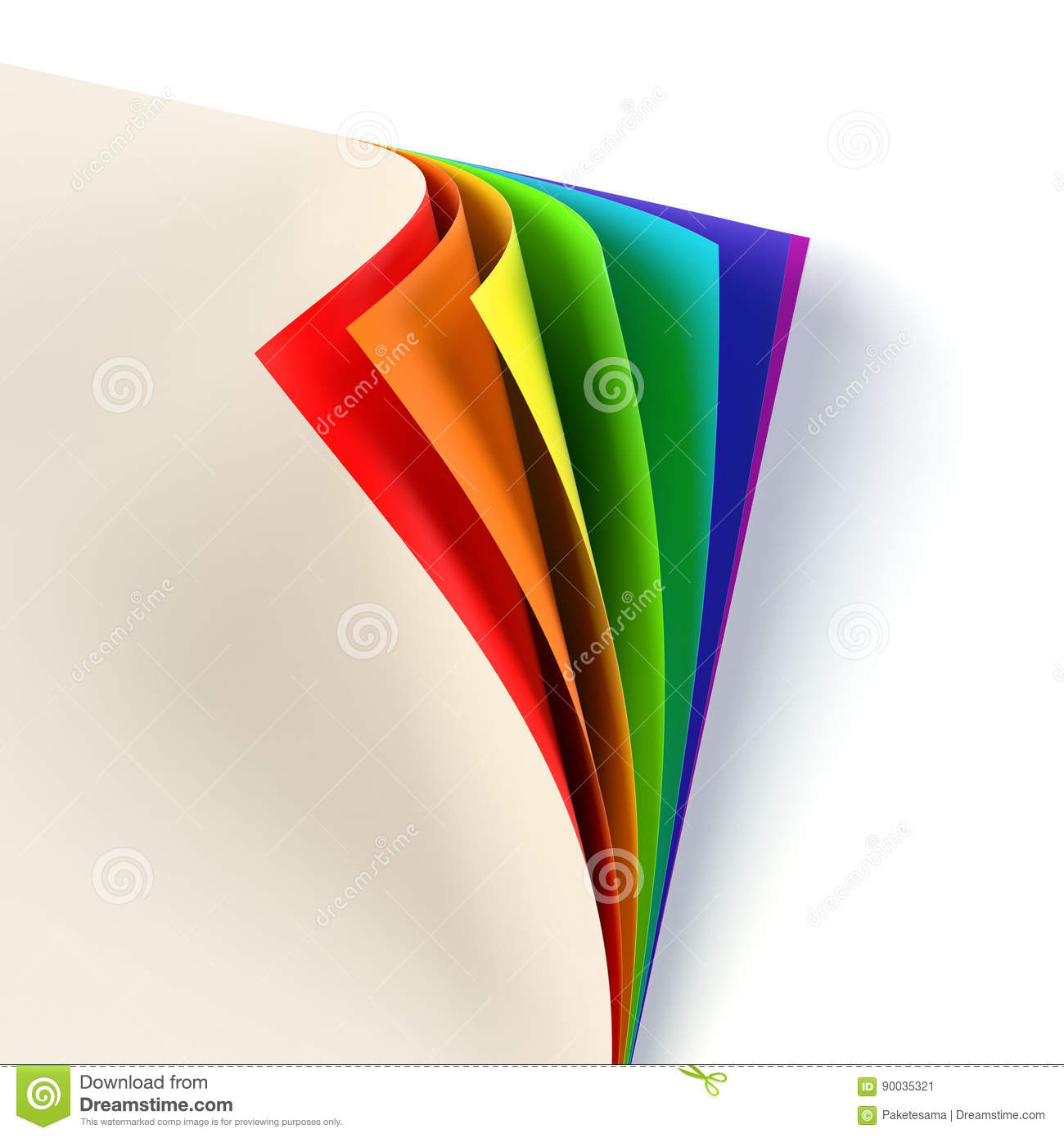 Blank Document Rainbow Colored Curled Corner Empty Template Mock Up Business Corporate Identity Advertisement Poster With Turning
