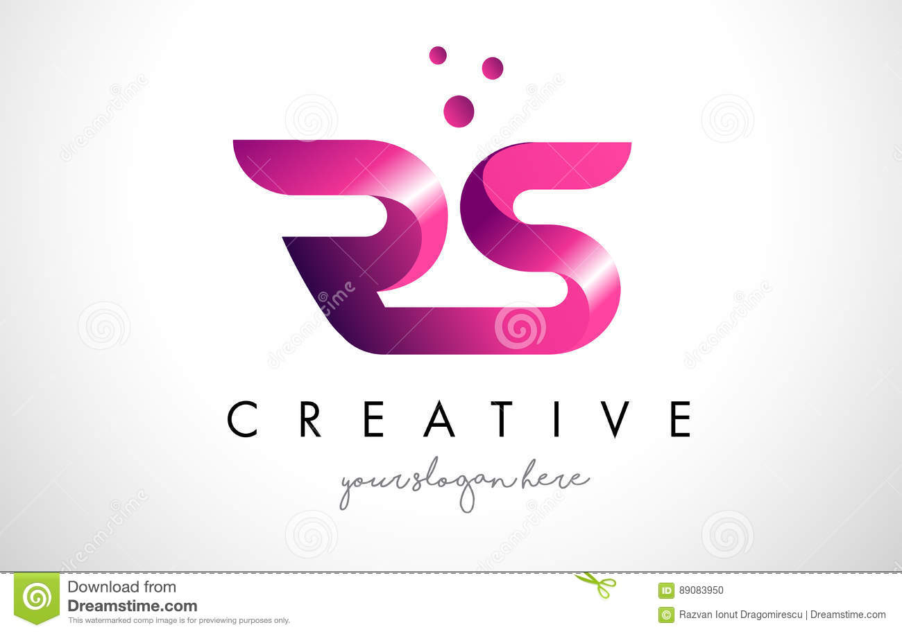 RS Letter Logo Design With Purple Colors And Dots Stock Vector ...