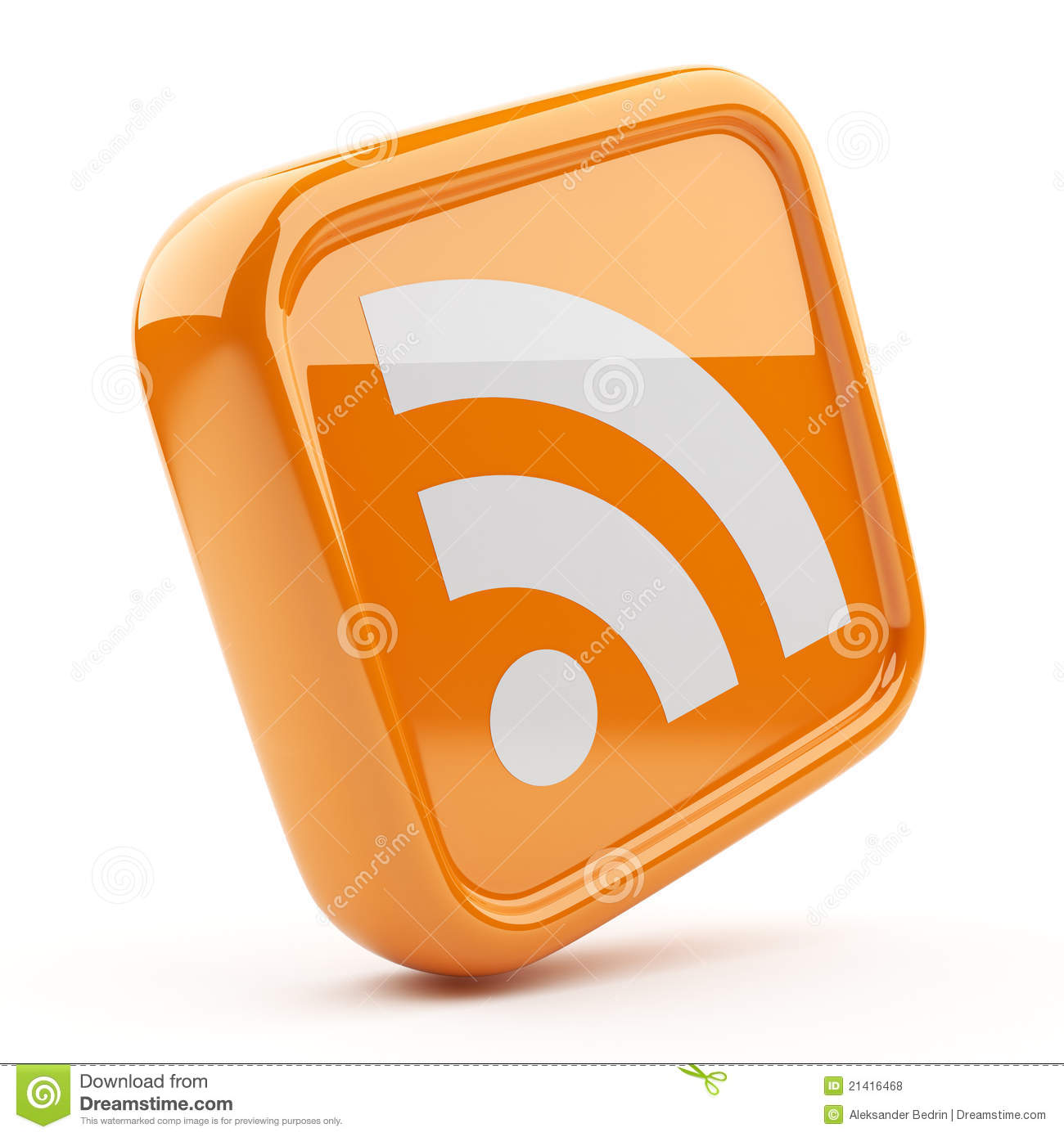 RSS Orange Symbol 3D. Icon On White Background Royalty