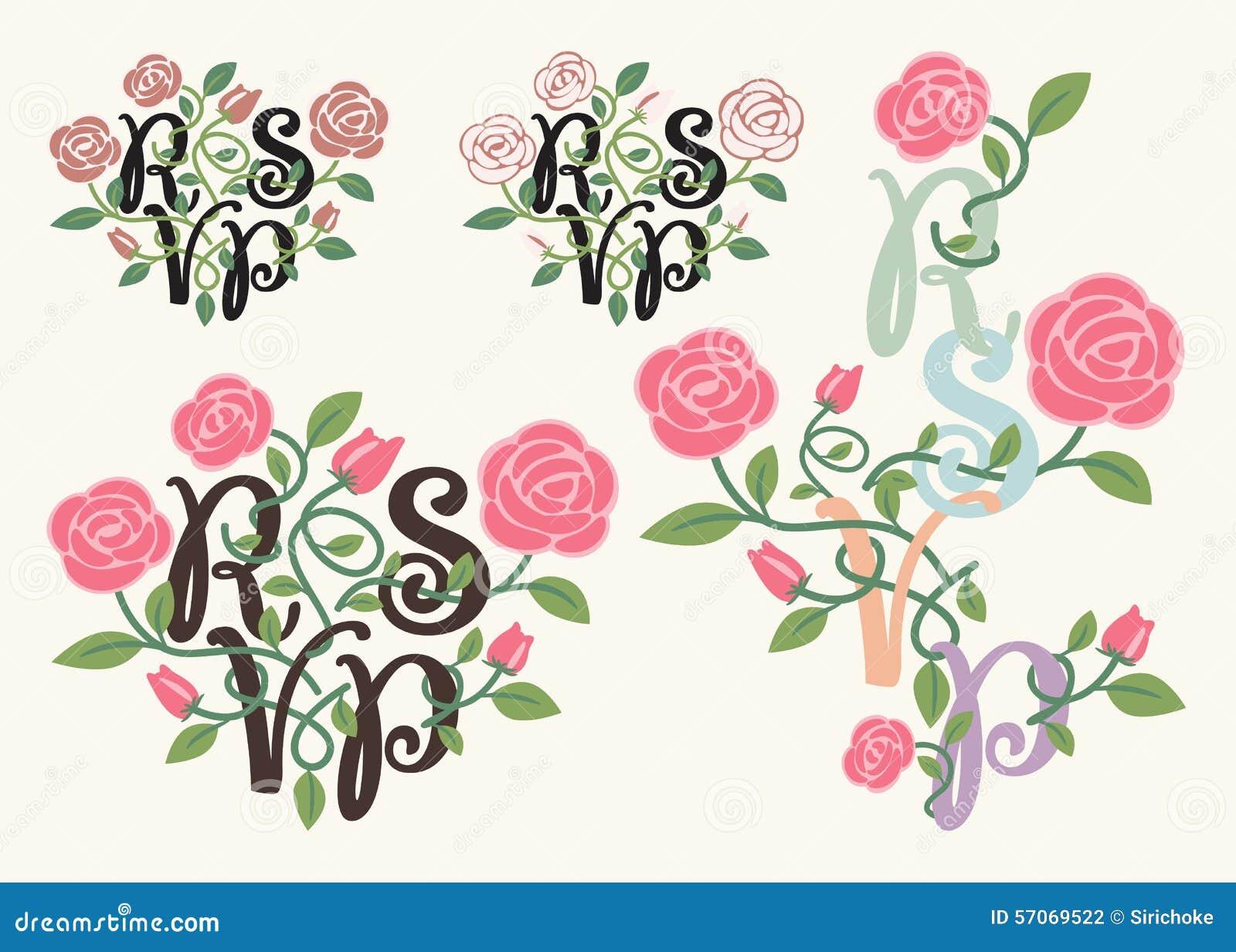RSVP-typografie en bloemelement