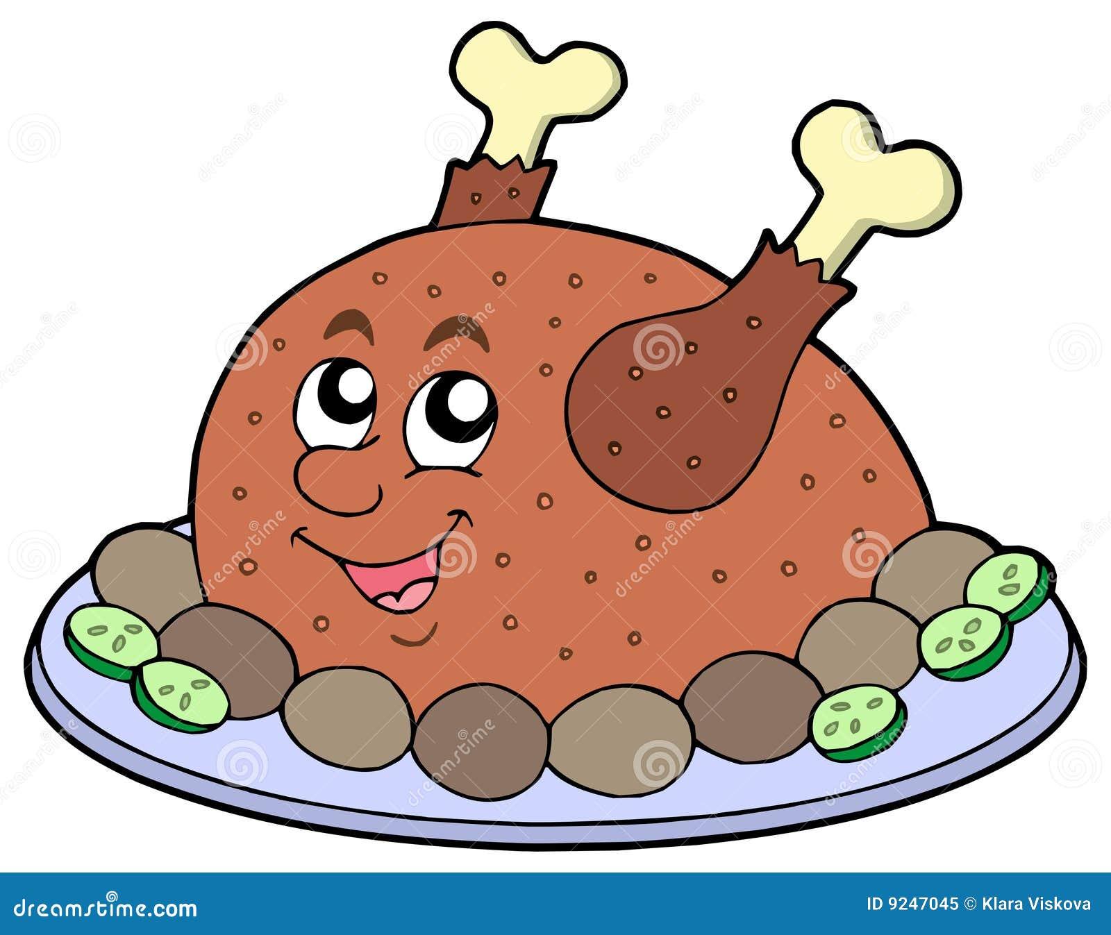 R ti de viande de dessin anim photo libre de droits image 9247045 - Dessin de poulet roti ...