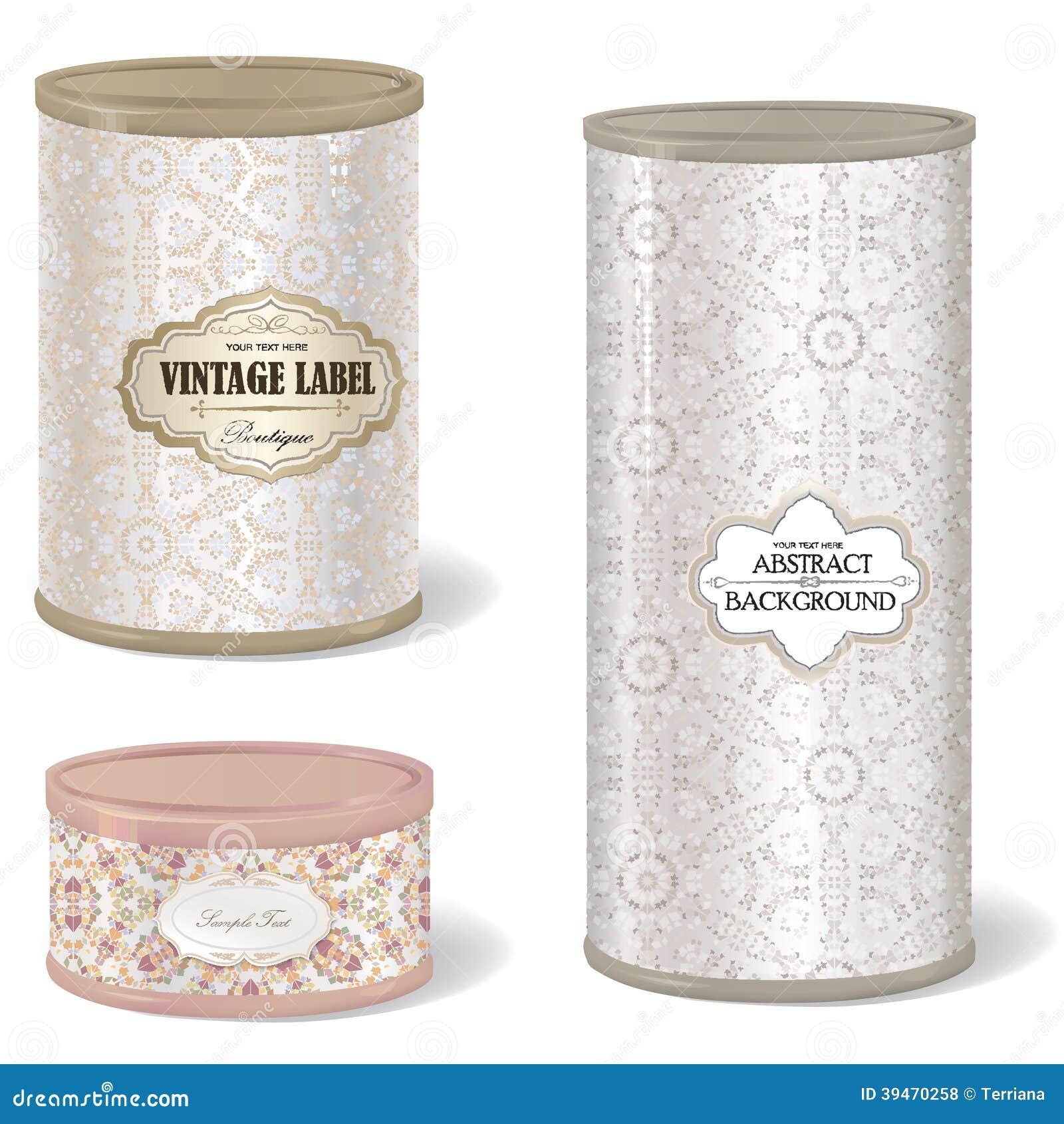 r tro bo te en fer blanc forme ronde r gl e de bo te avec le label de vintage illustration de. Black Bedroom Furniture Sets. Home Design Ideas