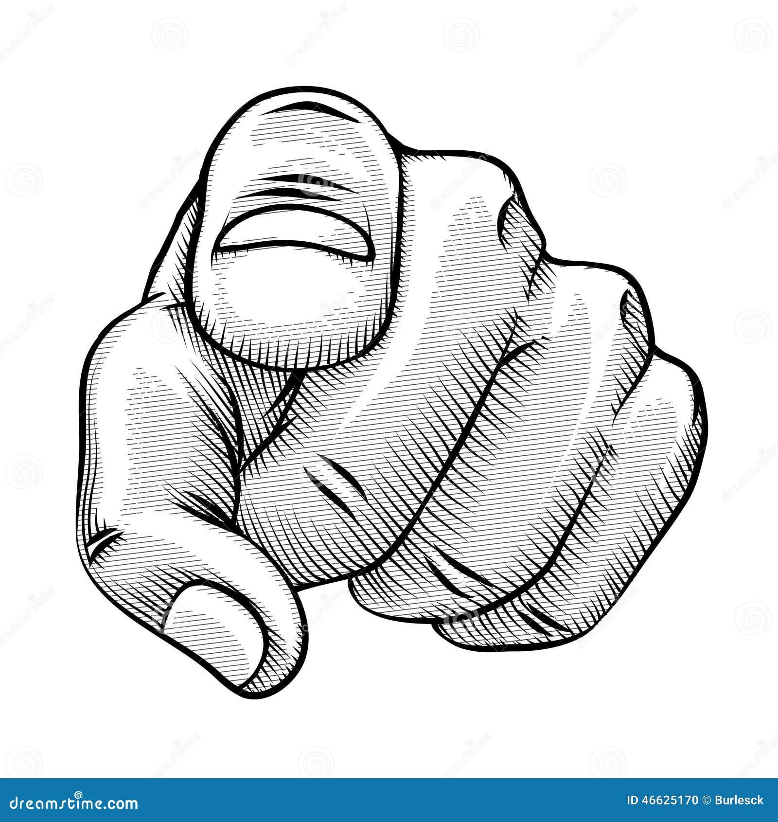 R tro dessin au trait d 39 un doigt de pointage illustration - Dessin de doigt ...