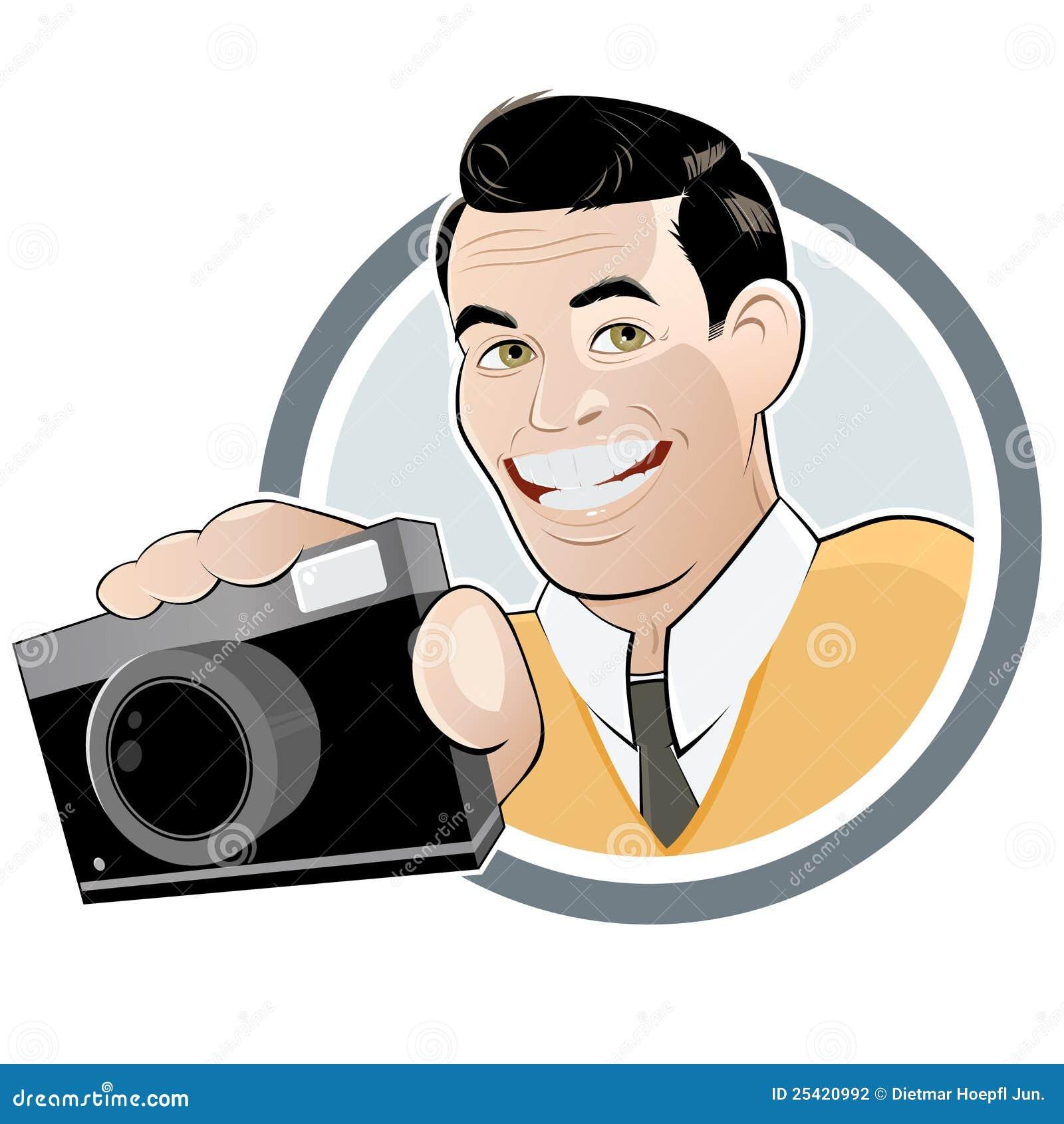 r tro homme de dessin anim avec l 39 appareil photo photographie stock image 25420992. Black Bedroom Furniture Sets. Home Design Ideas