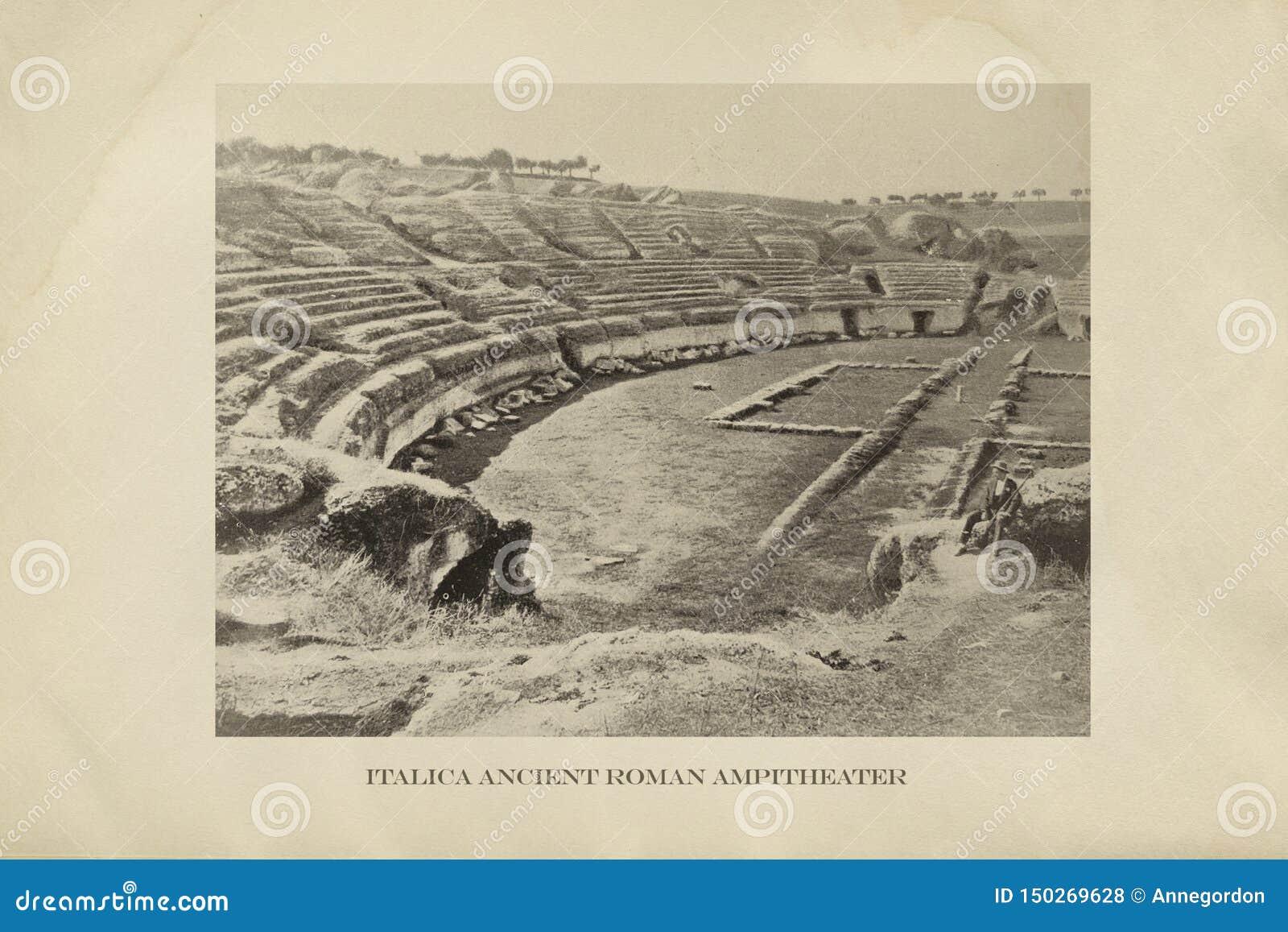 Ruína Italica de Roman Amphitheater, Sevilha, Espanha