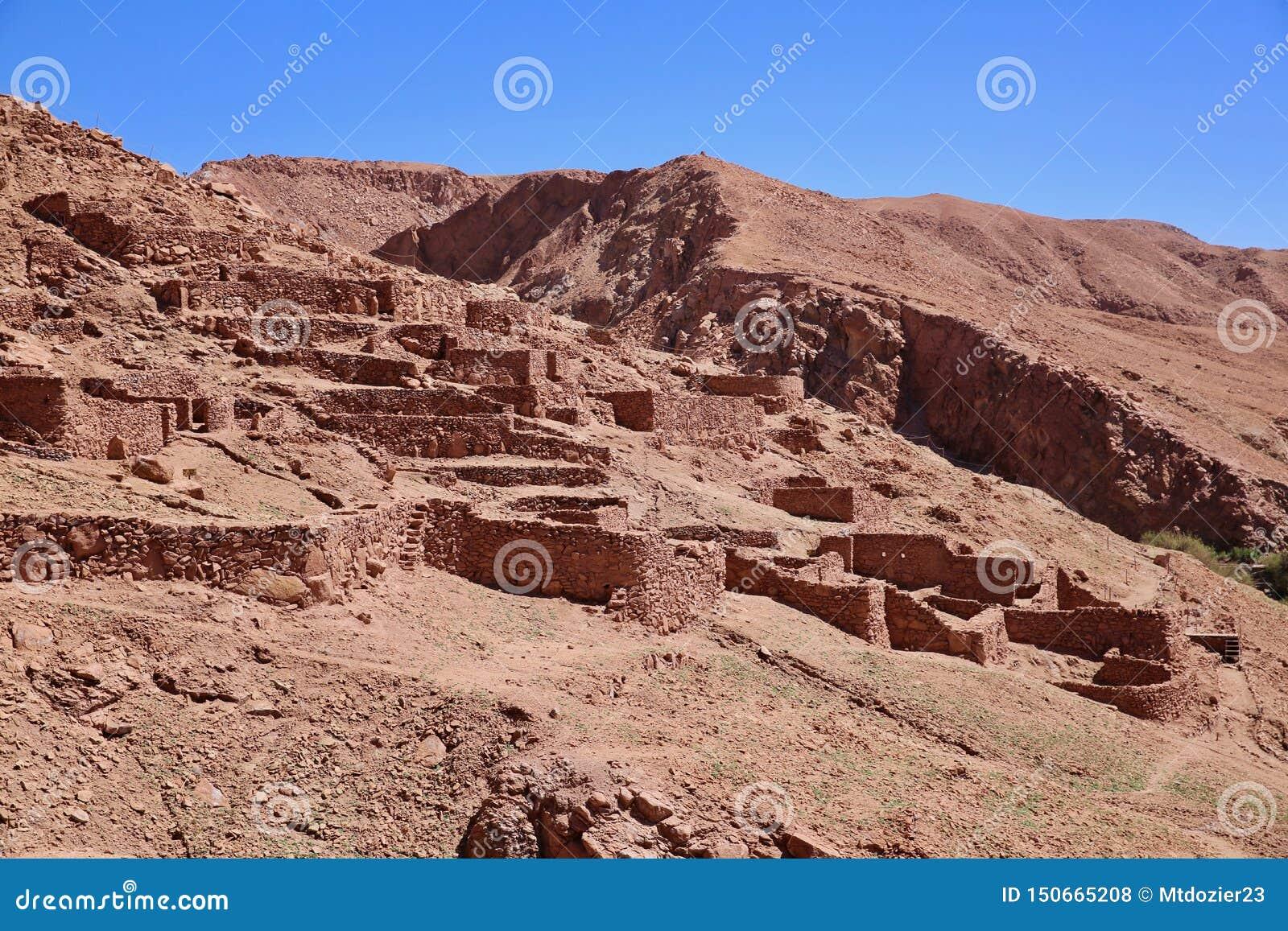 Ruínas Incan antigas no Chile rural