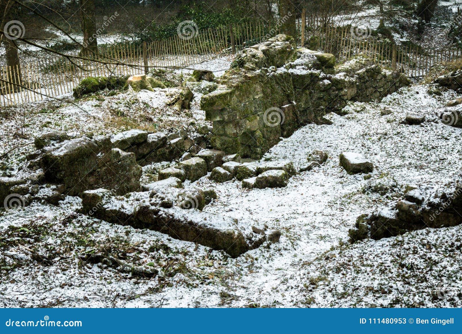 Ruïnes van een oude steen die op Dartmoor voortbouwen