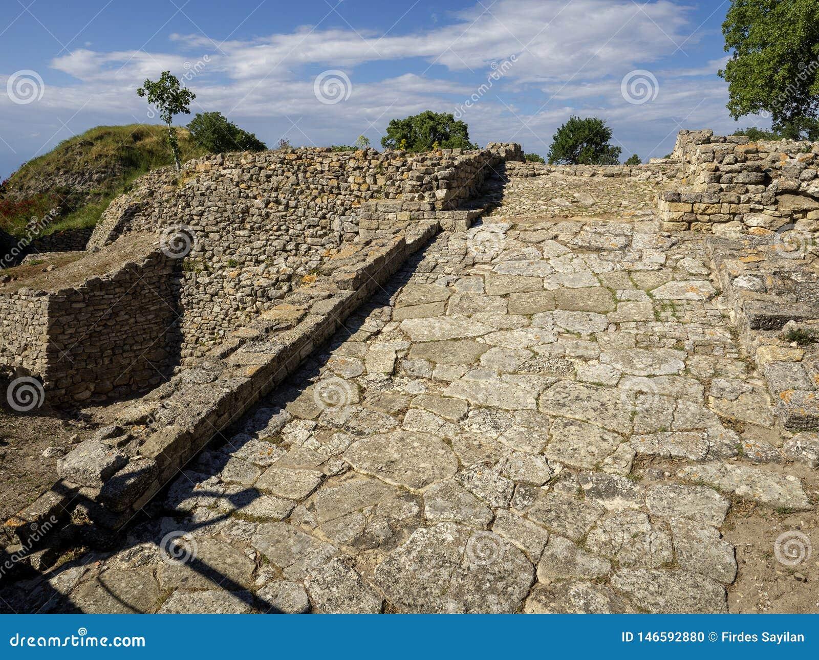 Ru?nes van oude Troia-stad, Canakkale Dardanellen/Turkije