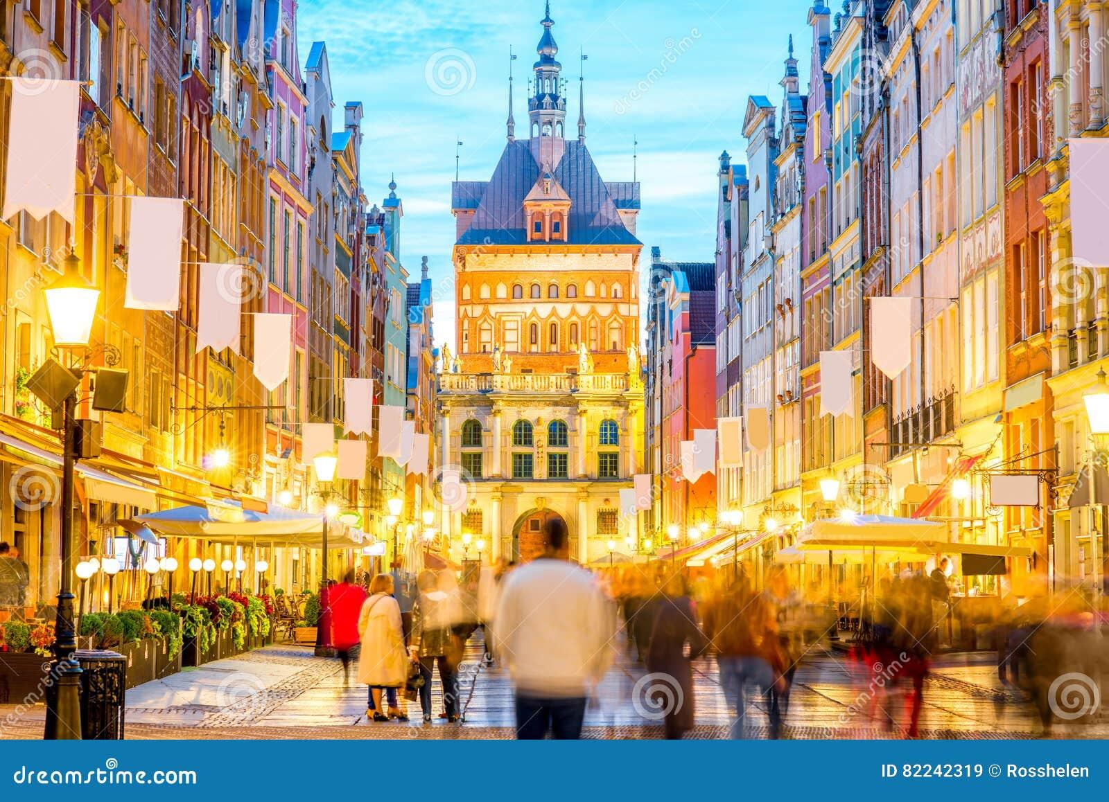 Rua central em Gdansk