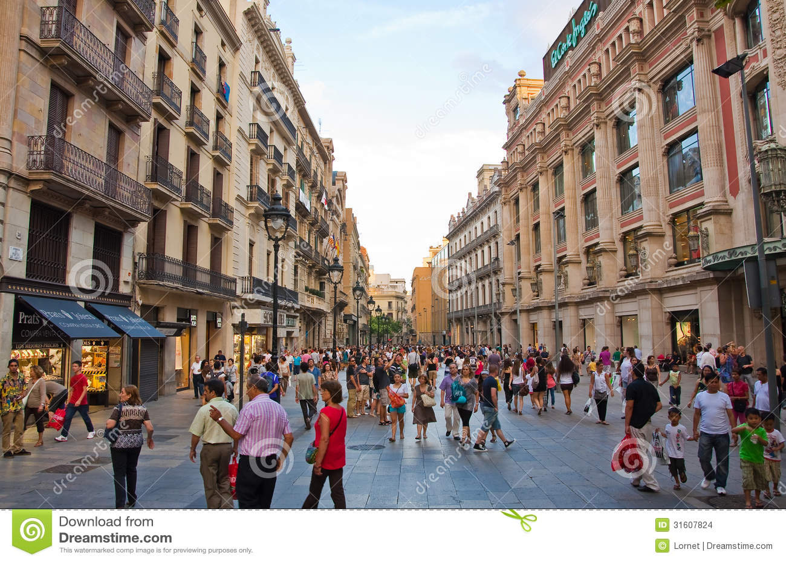 Rua da compra em Barcelona.