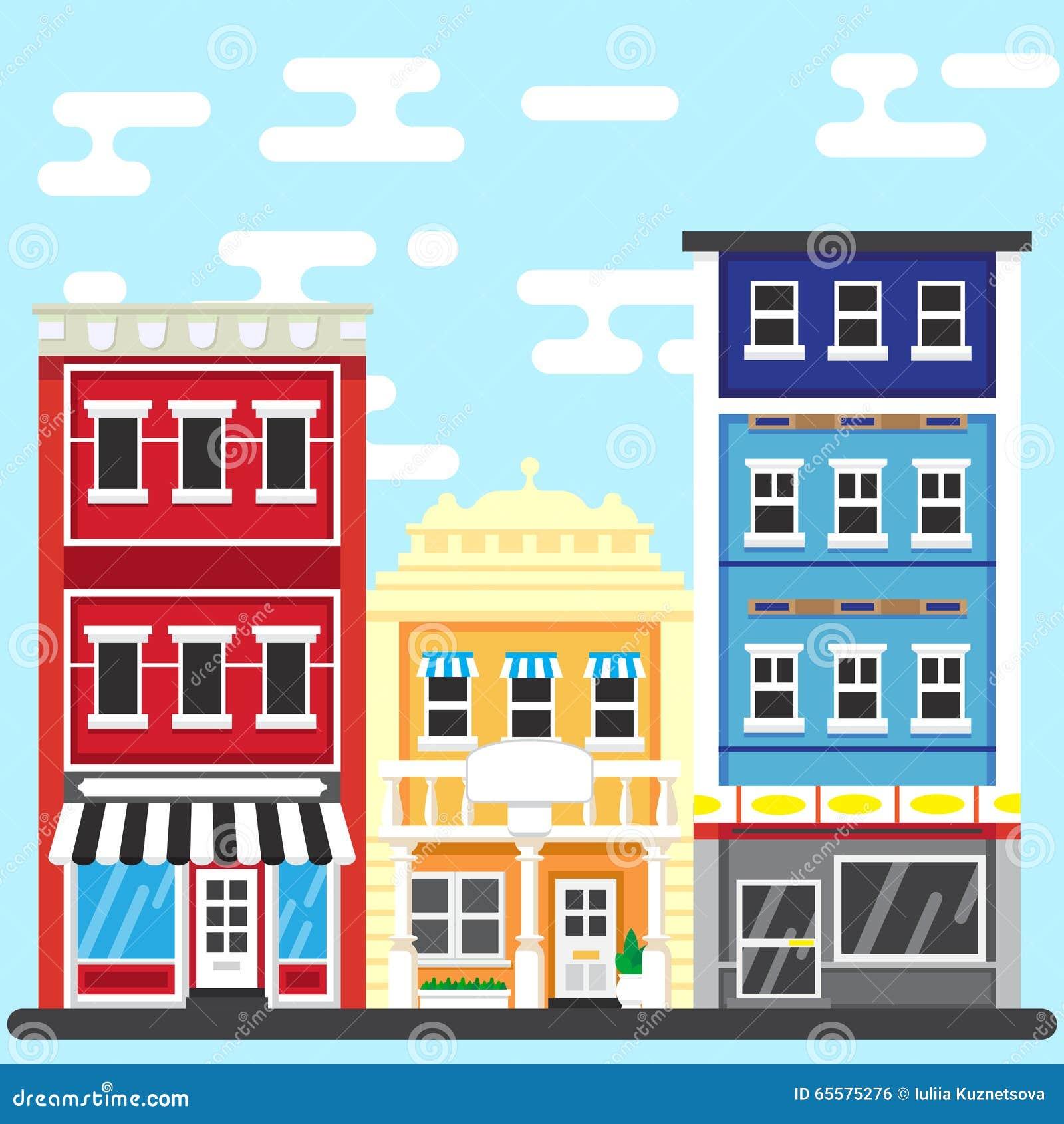 Rua de PrintCity Ilustração do vetor da construção