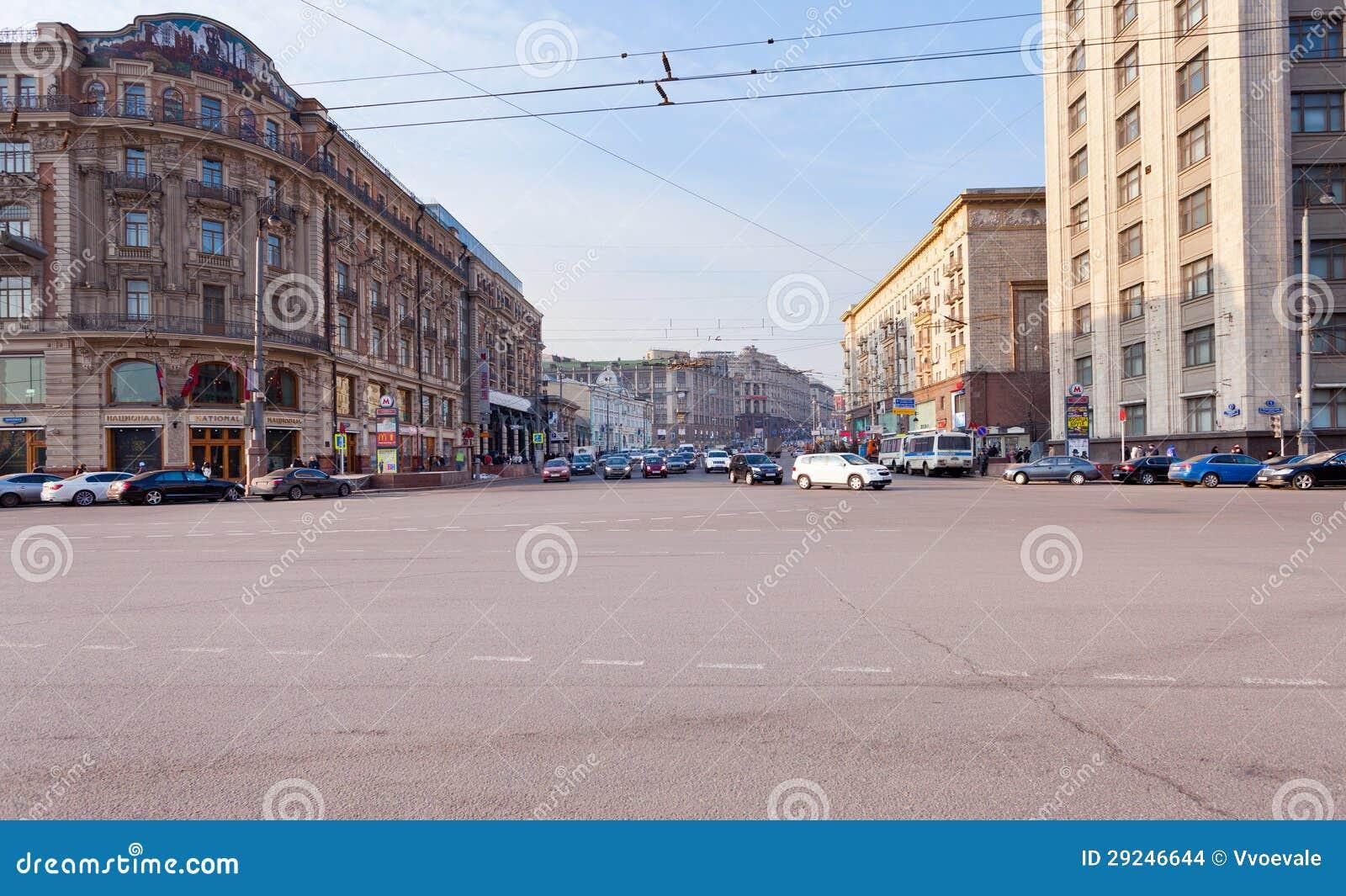 Download Rua De Tverskaya Do Quadrado De Manege Em Moscovo Imagem de Stock Editorial - Imagem de russian, hotel: 29246644