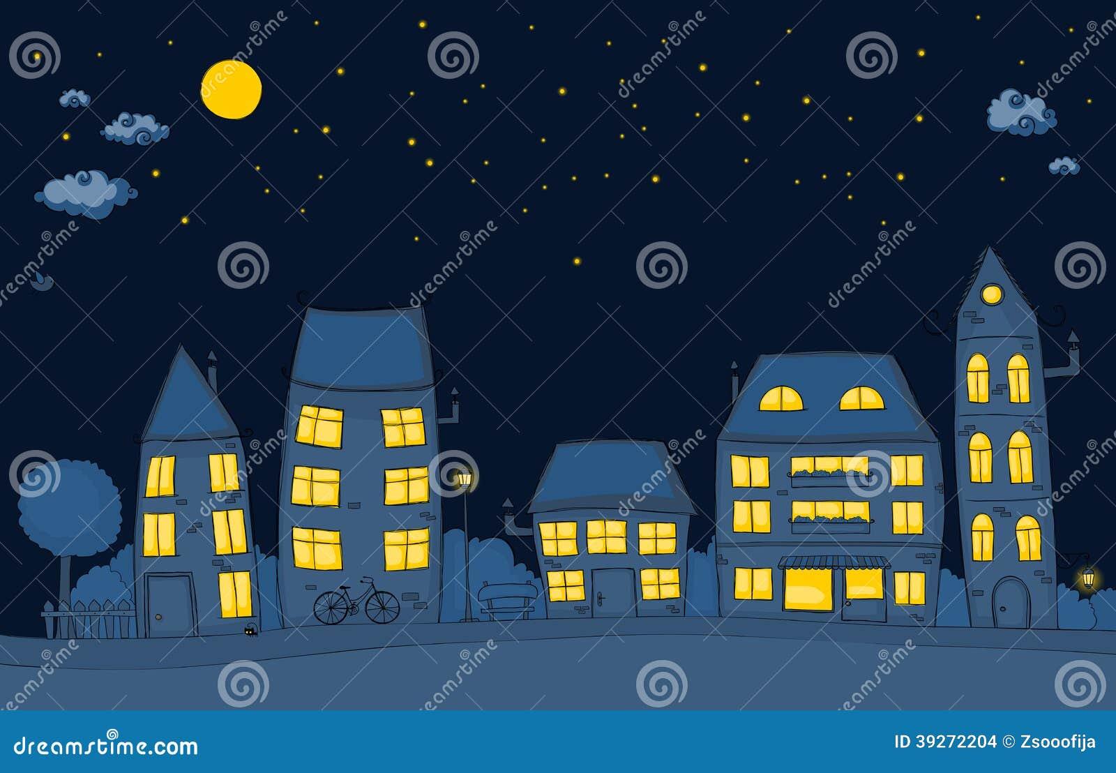 Rua Dos Desenhos Animados Na Noite Ilustracao Do Vetor