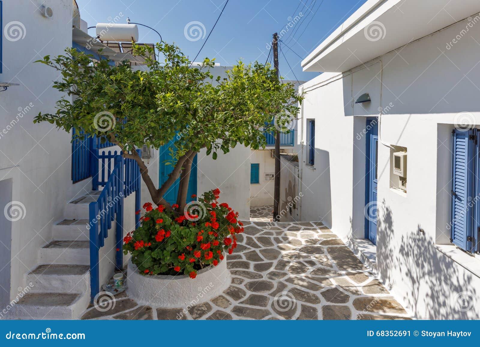 Rua e flores típicas na cidade de Parakia, ilha de Paros, Grécia