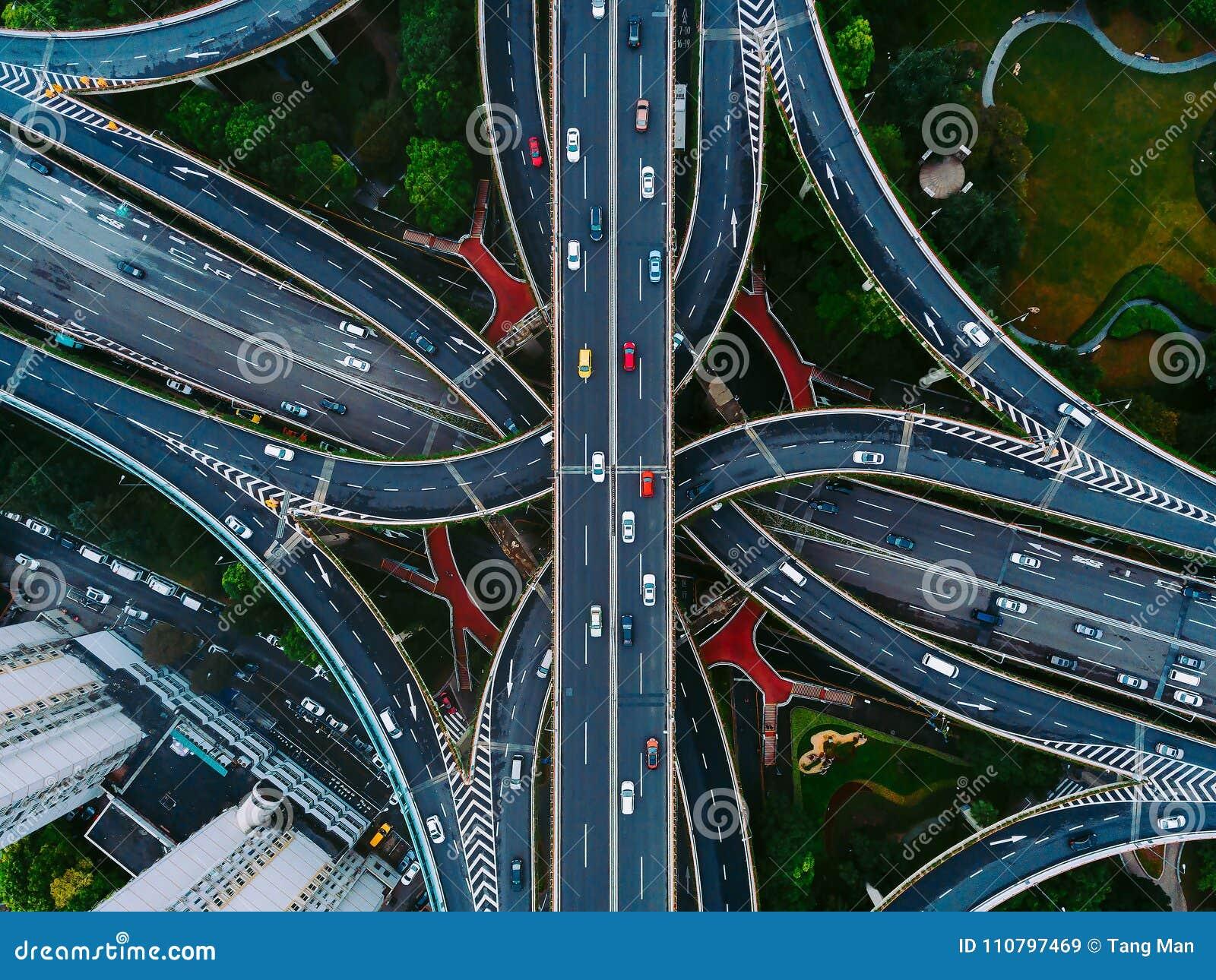 Ruas e interseções de Shanghai de cima de